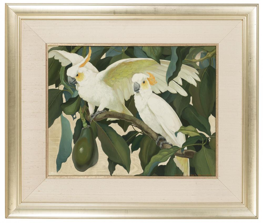 Jessie Arms Botke, (1883-1971 Santa Paula, CA), White cockatoos in an avocado tree, Oil and gold leaf on canvasboard, 16