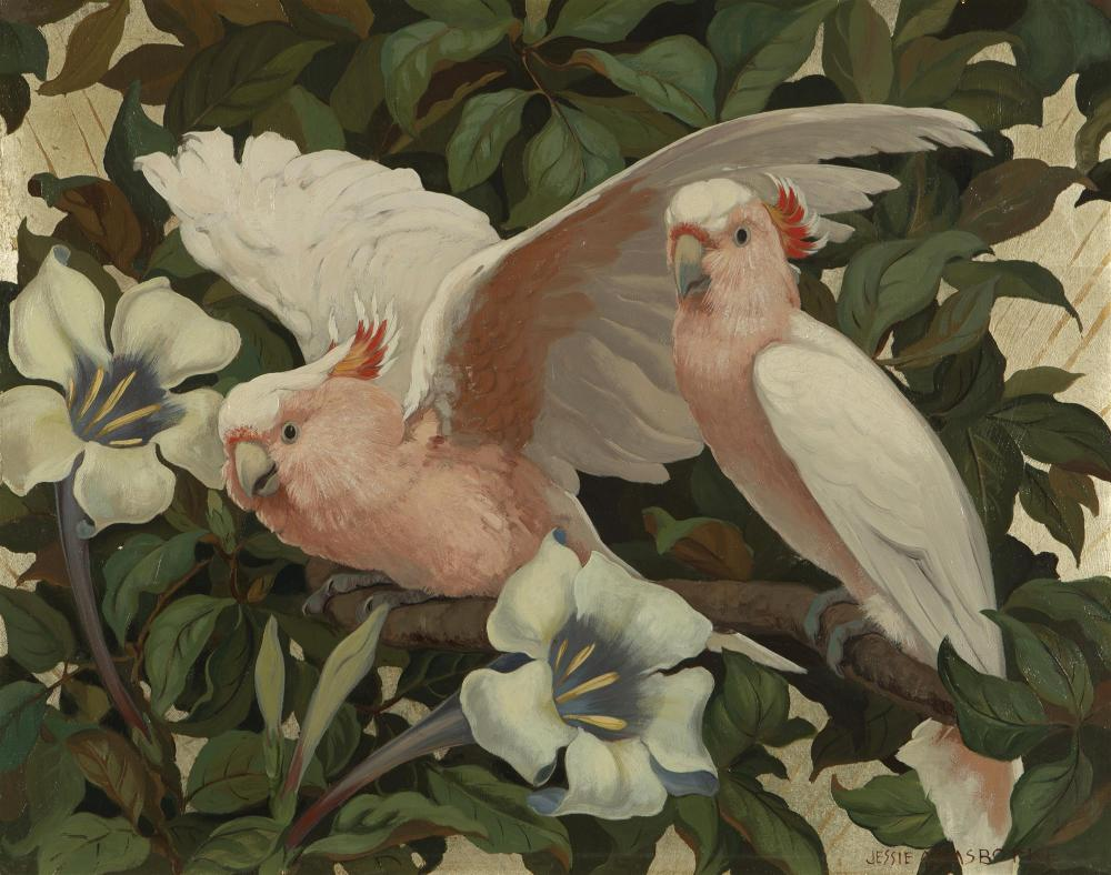 """Jessie Arms Botke, (1883-1971 Santa Paula, CA), Cockatoos in a flowering tree, Oil and gold leaf on board, 16"""" H x 20"""" W"""