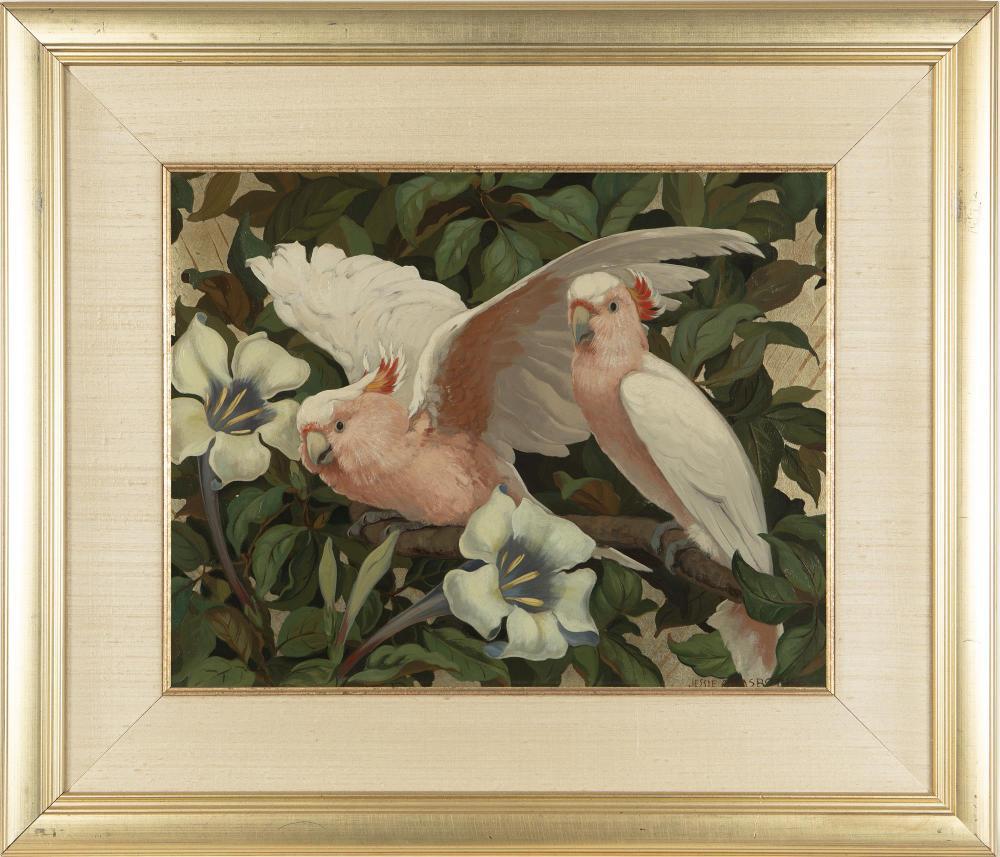 Jessie Arms Botke, (1883-1971 Santa Paula, CA), Cockatoos in a flowering tree, Oil and gold leaf on board, 16