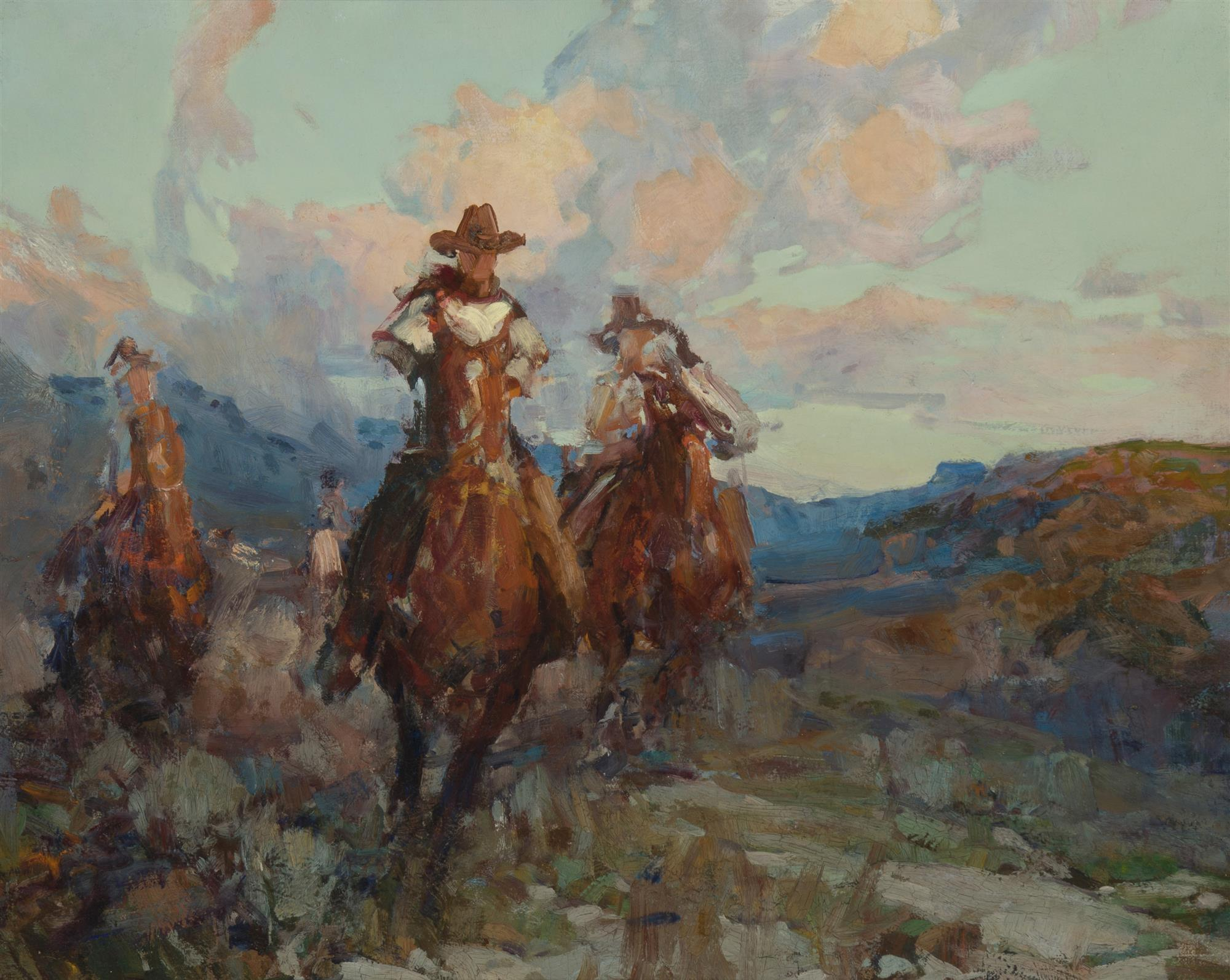 """Frank Tenney Johnson NA, (1874-1939 Los Angeles, CA), """"Cowboy Race,"""" field study for """"Dust Stained Riders"""", Oil on canvas backed with m"""