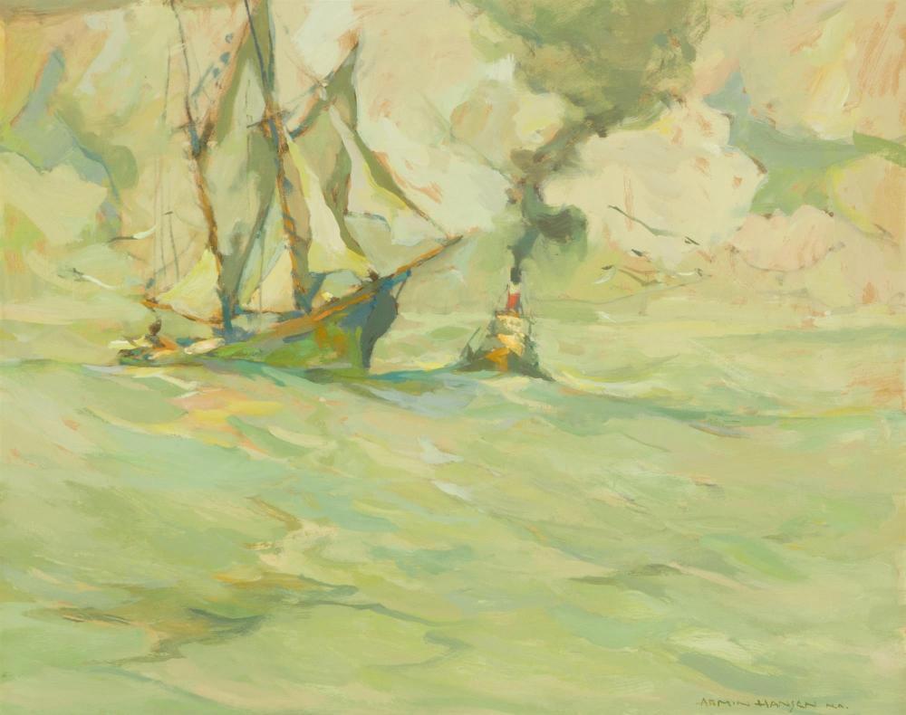 "Armin Carl Hansen NA, (1886-1957 Monterey, CA), ""Towboat Longside"", Oil on board, 18.25"" H x 22.25"" W"