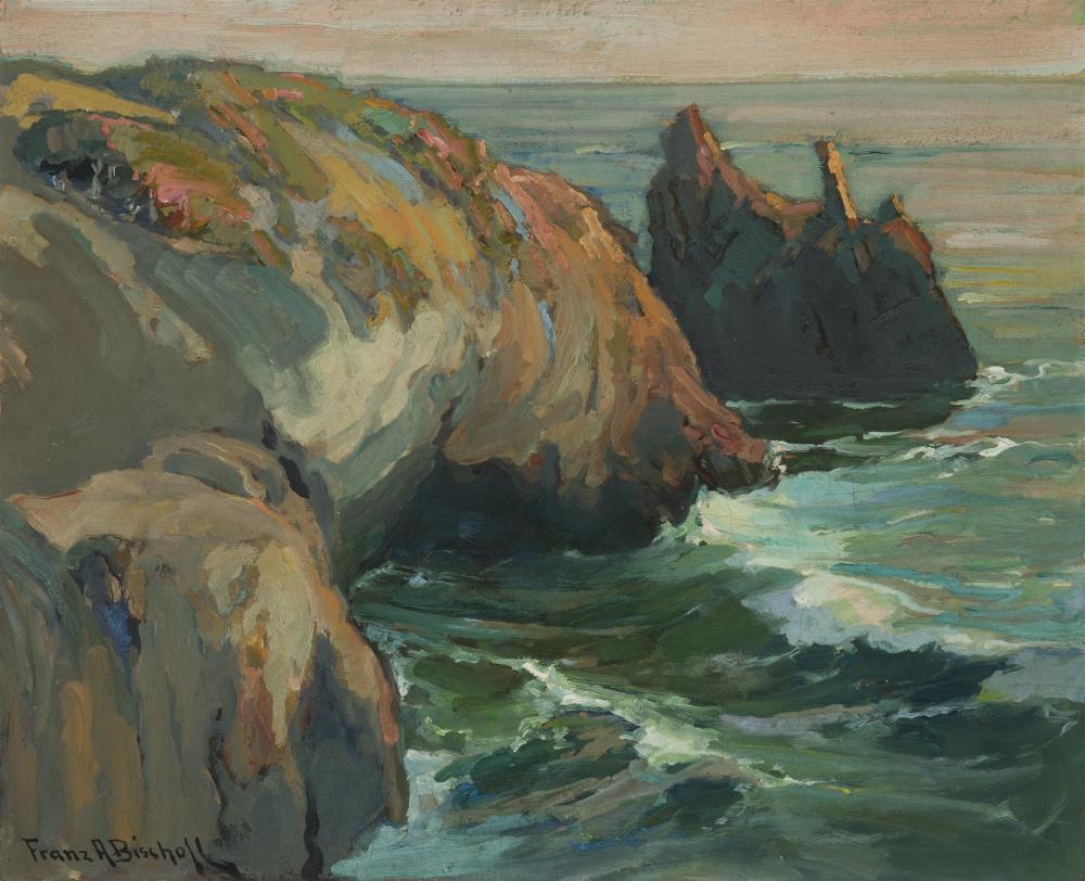 "Franz A. Bischoff, (1864-1929 Pasadena, CA), ""A Deep Cove - Balboa Rocks"", Oil on canvas, 18"" H x 22"" W"