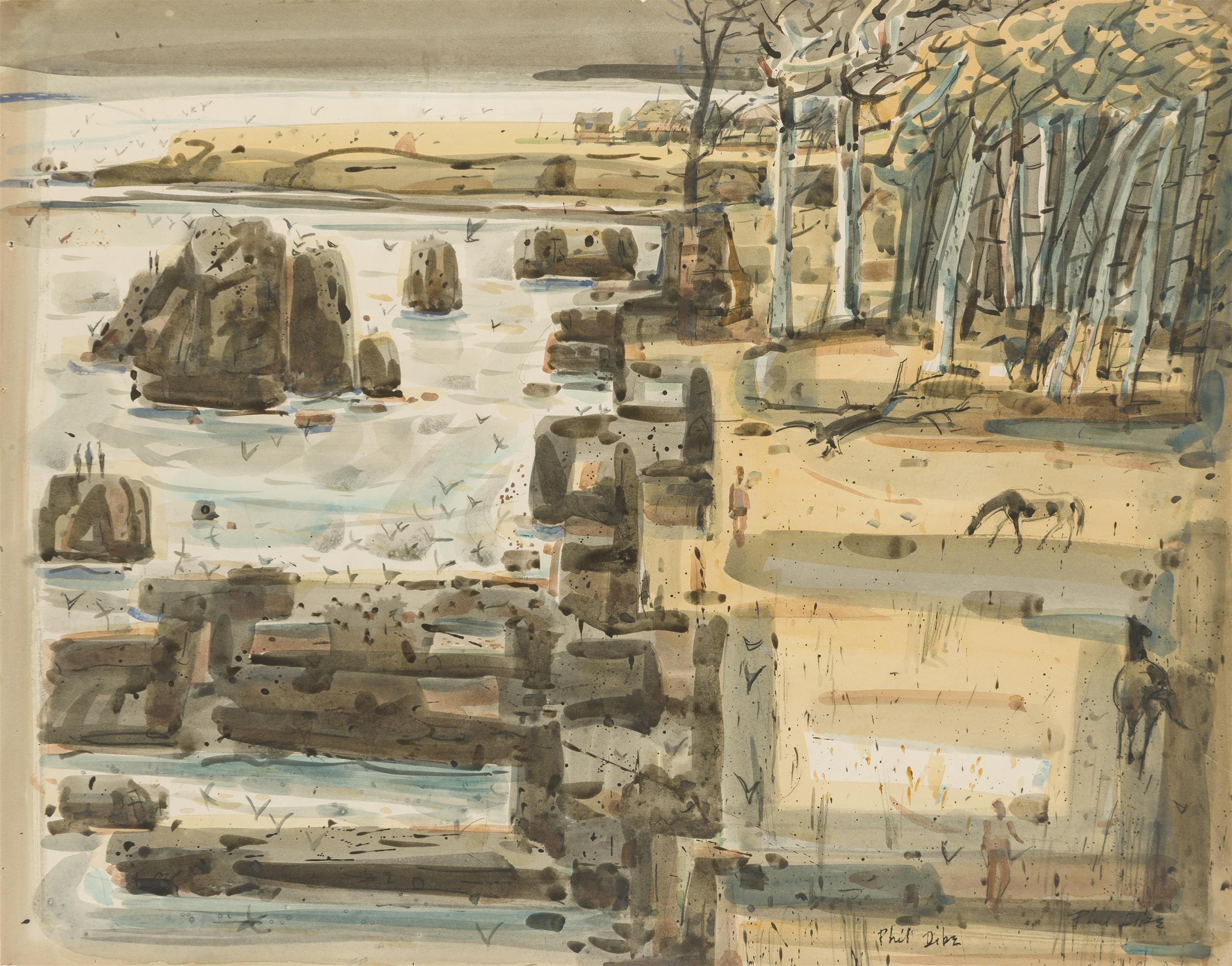 "Phil Latimer Dike NA, (1906-1990 Claremont, CA), ""San Simeon - Big Sur #5"", Watercolor on paper laid to board under Plexiglas, Sight: 2"