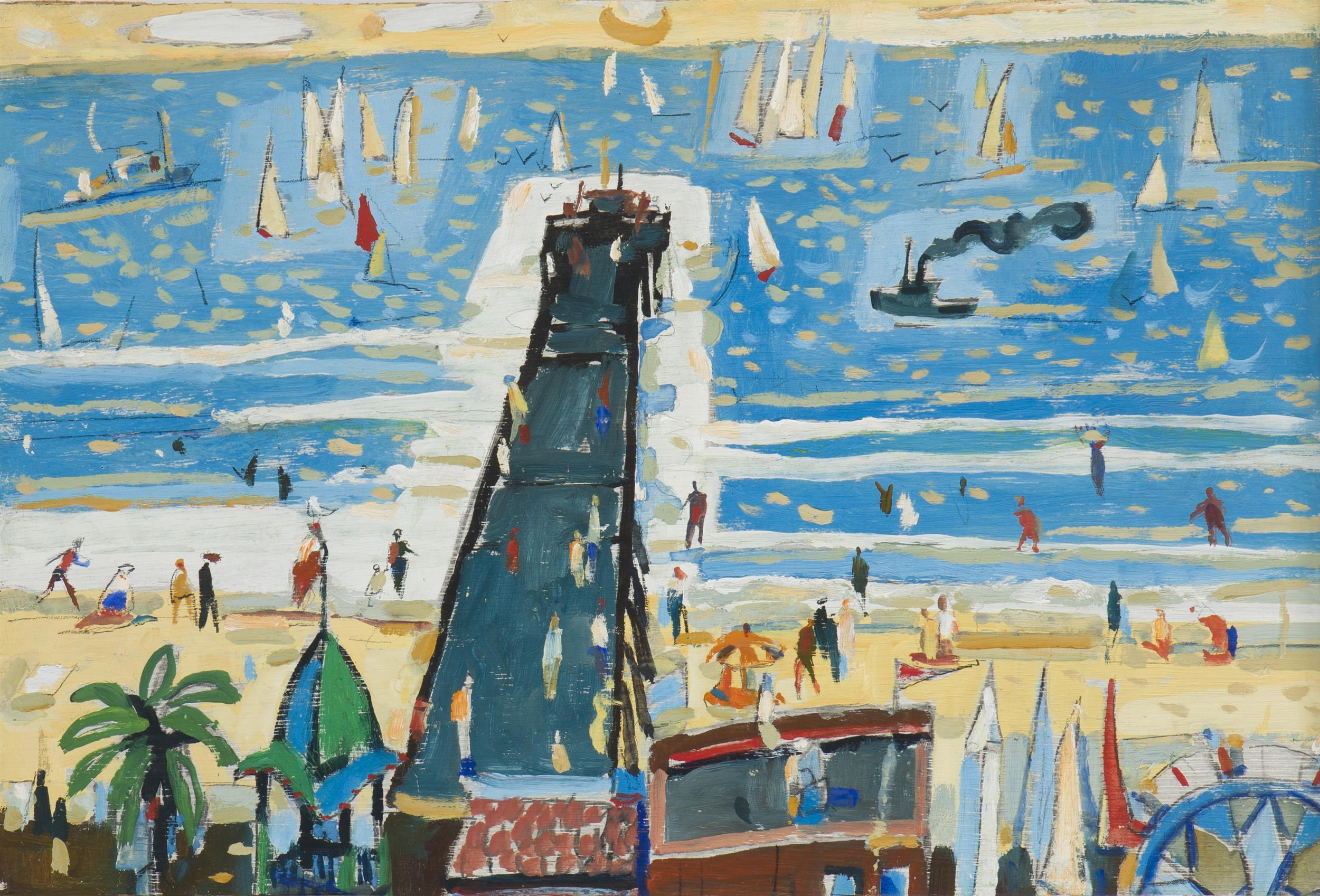 """Attributed to Phil Latimer Dike NA, (1906-1990 Claremont, CA), Balboa Pier, Oil on wood panel under glass, Sight: 13"""" H x 19.5"""" W"""