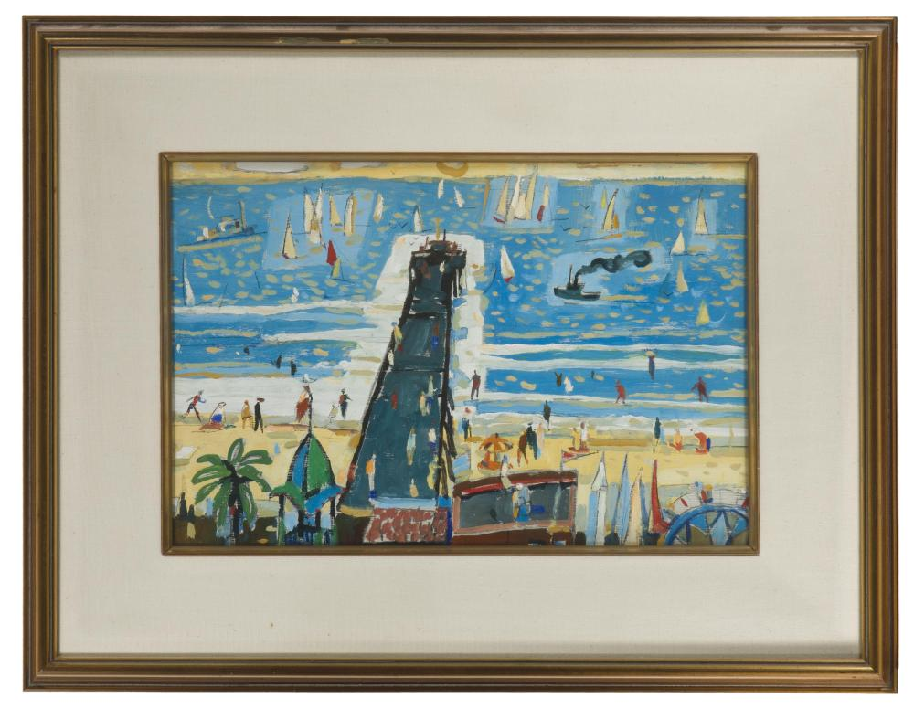 Attributed to Phil Latimer Dike NA, (1906-1990 Claremont, CA), Balboa Pier, Oil on wood panel under glass, Sight: 13