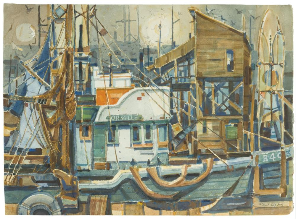 """Phil Latimer Dike NA, (1906-1990 Claremont, CA), """"Dockside, Morro Bay"""", Watercolor on Arches paper under Plexiglas, Sheet: 22"""" H x 30"""""""