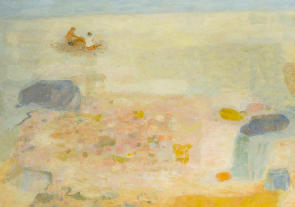 """Mabel Alvarez, (1891-1985 Los Angeles, CA), """"Morning at the Shore,"""" 1966, Oil on canvas, 30"""" H x 42"""" W"""