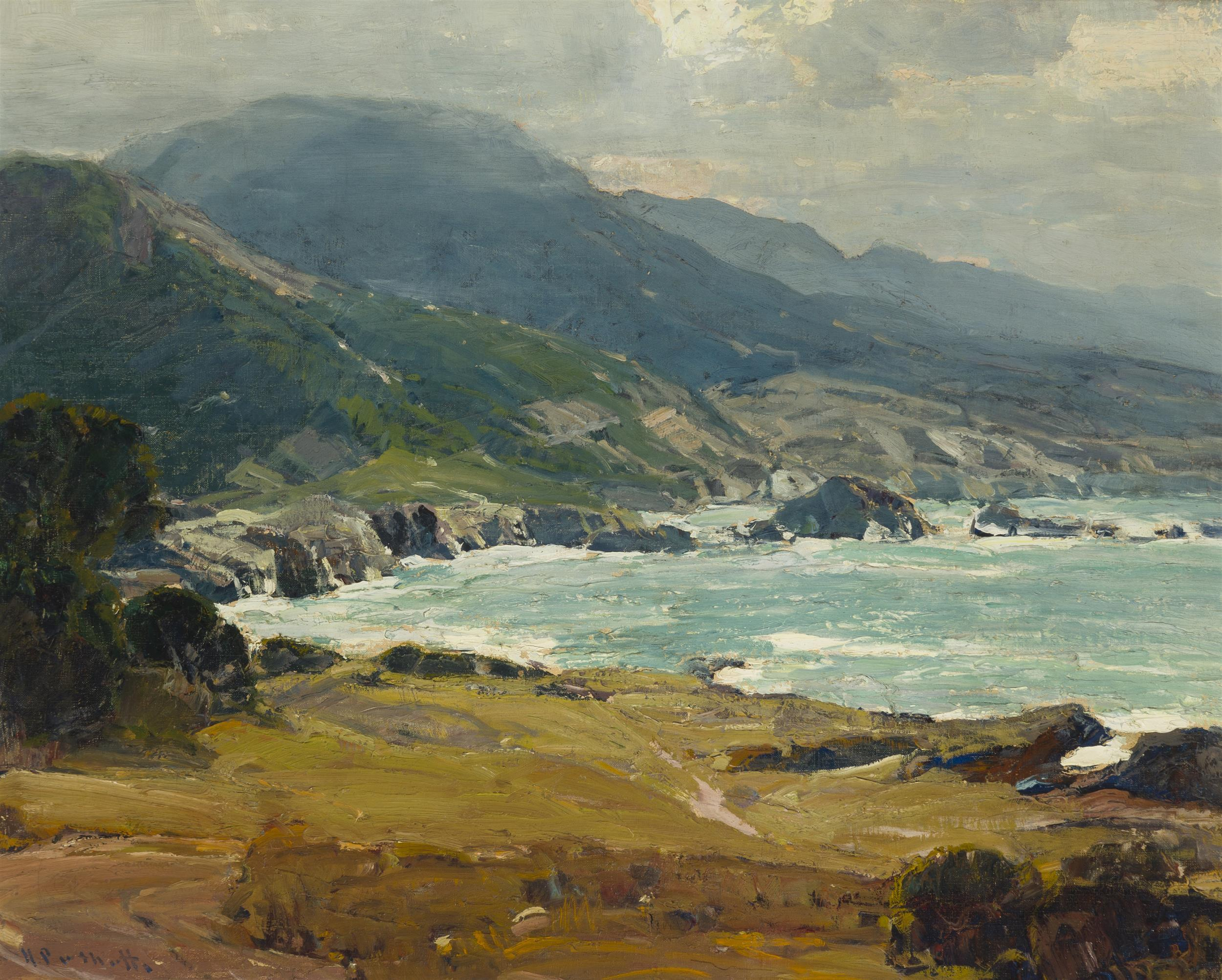 """Hanson Duvall Puthuff, (1875-1972 Corona Del Mar, CA), """"Surging Shallows"""", Oil on canvas, 24"""" H x 30"""" W"""
