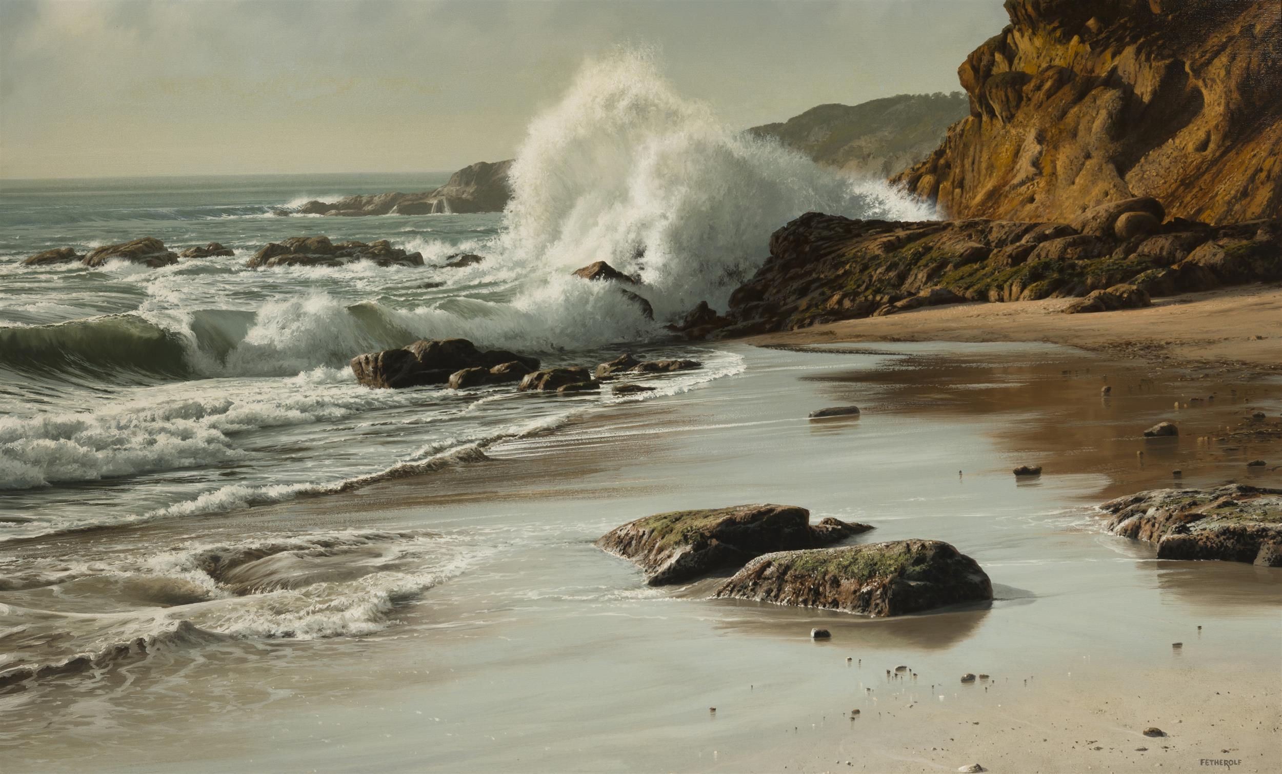 "James Fetherolf, (1925-1994 Camarillo, CA), ""Rocky Shore"", Oil on canvas, 30"" H x 48"" W"