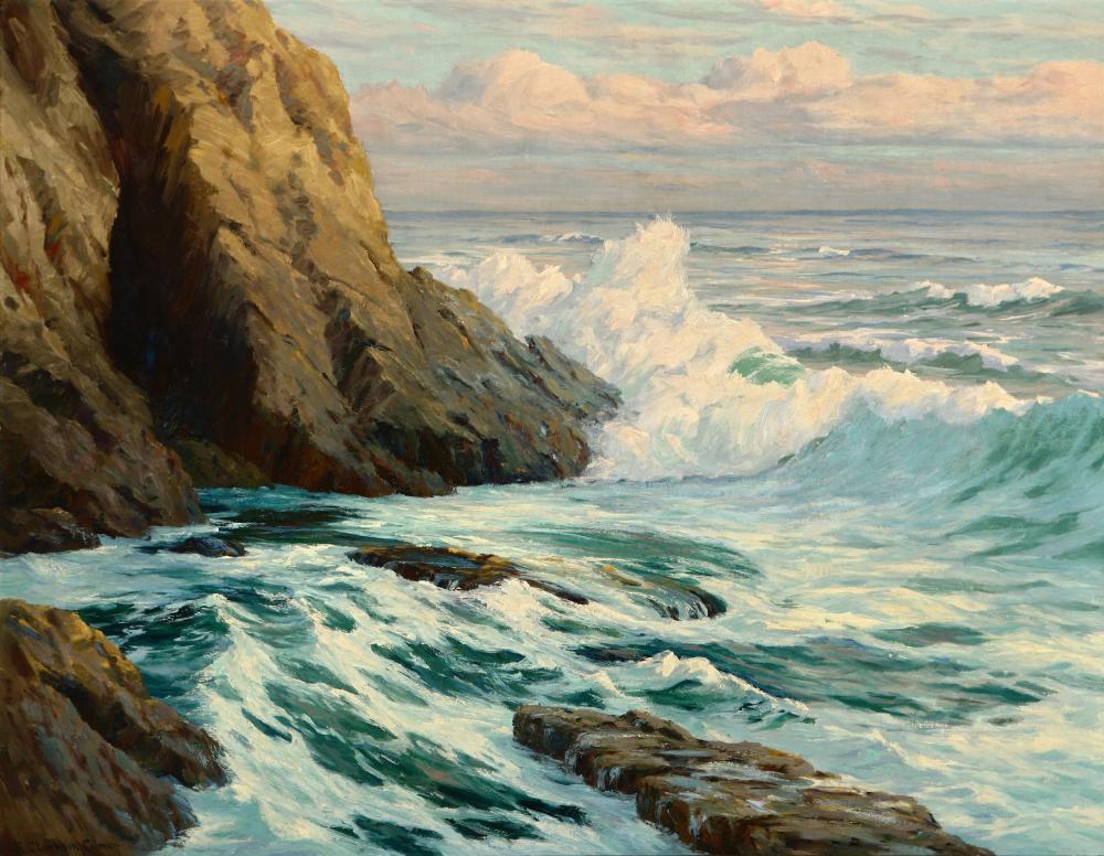 """Roi Clarkson Colman, (1884-1945 Laguna Beach, CA), Coastal scene with crashing waves, Oil on canvas laid to waxed canvas, 28.5"""" H x 36."""
