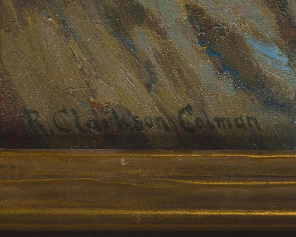 Roi Clarkson Colman, (1884-1945 Laguna Beach, CA), Coastal scene with crashing waves, Oil on canvas laid to waxed canvas, 28.5