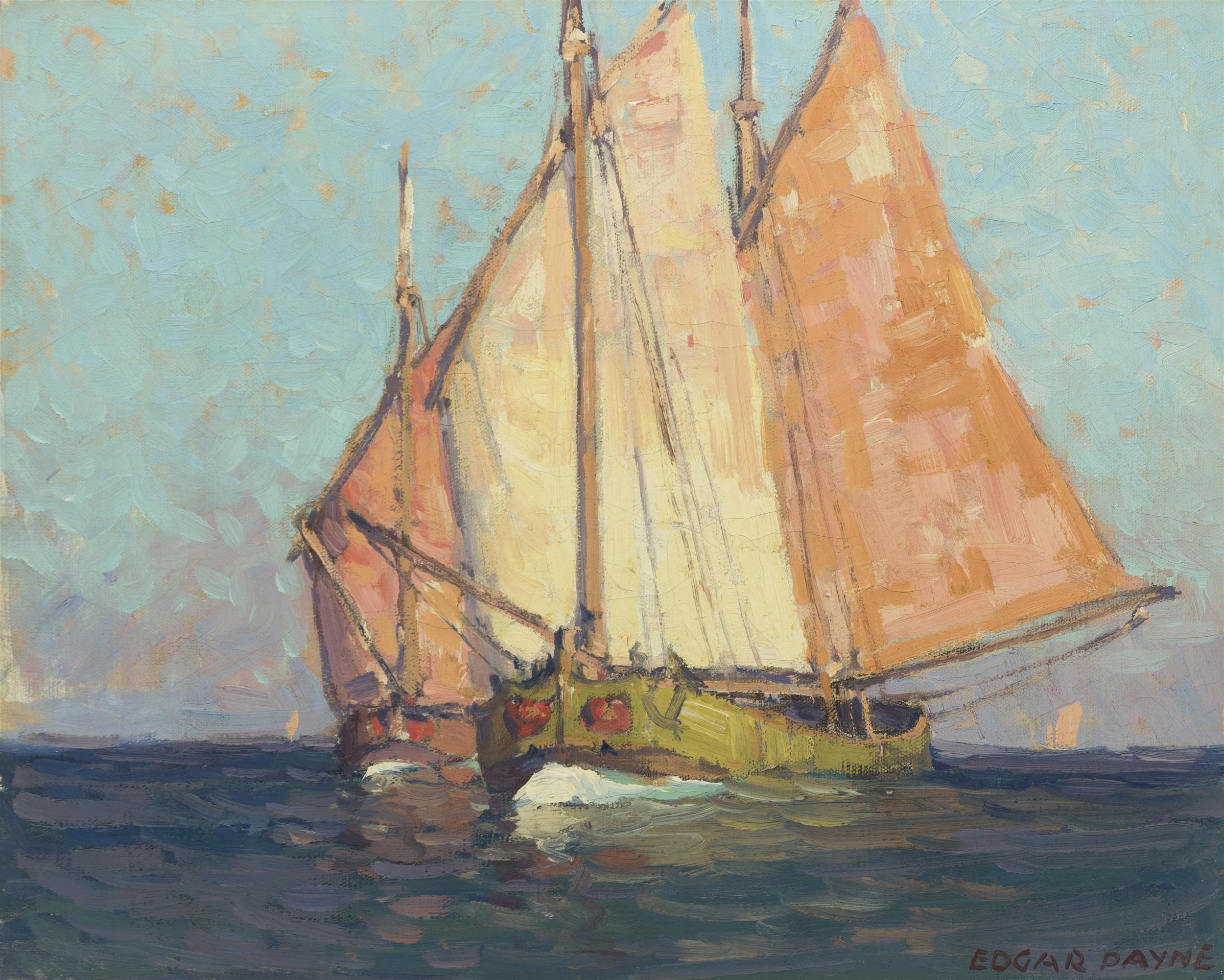 """Edgar Alwin Payne, (1883-1947 Hollywood, CA), Italian cargo boats, Oil on canvas, 16"""" H x 20"""" W"""