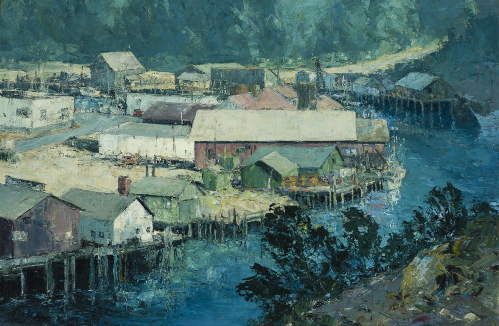 "Ralph Love, (1907-1992 Escondido, CA), ""Noyo Harbor,"" Mendocino, Oil on canvas, 24.25"" H x 36.25"" W"