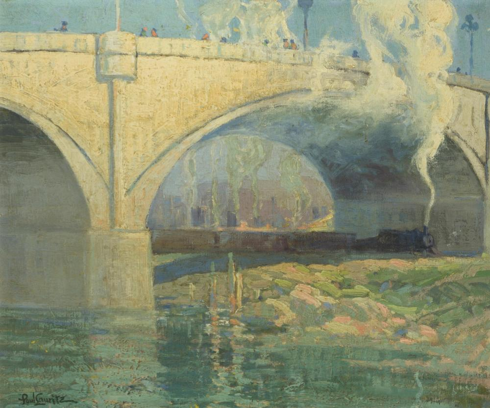 "Paul Lauritz, (1889-1975 Glendale, CA), ""Buena Vista Bridge, Los Angeles"", Oil on canvas, 20"" H x 24"" W"