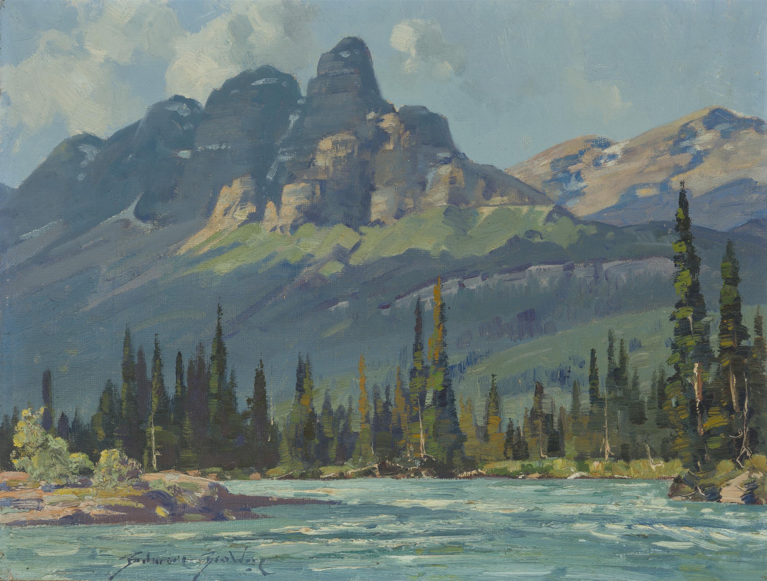 """Belmore Browne, (1880-1954 Ross, CA), """"Castle Mountain"""", Oil on canvasboard, 12"""" H x 16"""" W"""