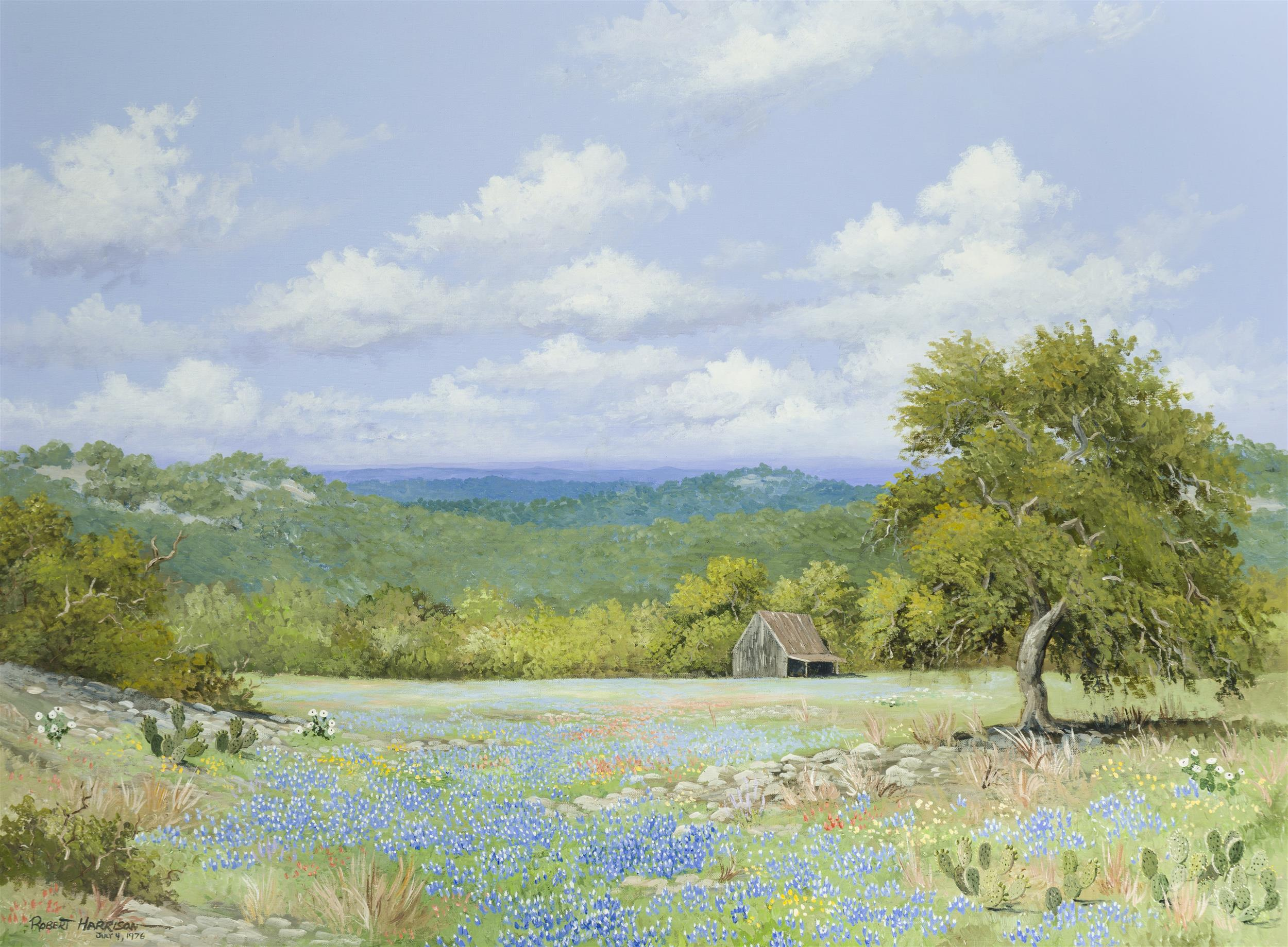 """Robert Harrison, (b. 1948 San Antonio, TX), Texas hill country landscape with bluebonnets and cactus, 1976, Oil on canvas, 30"""" H x 40"""""""