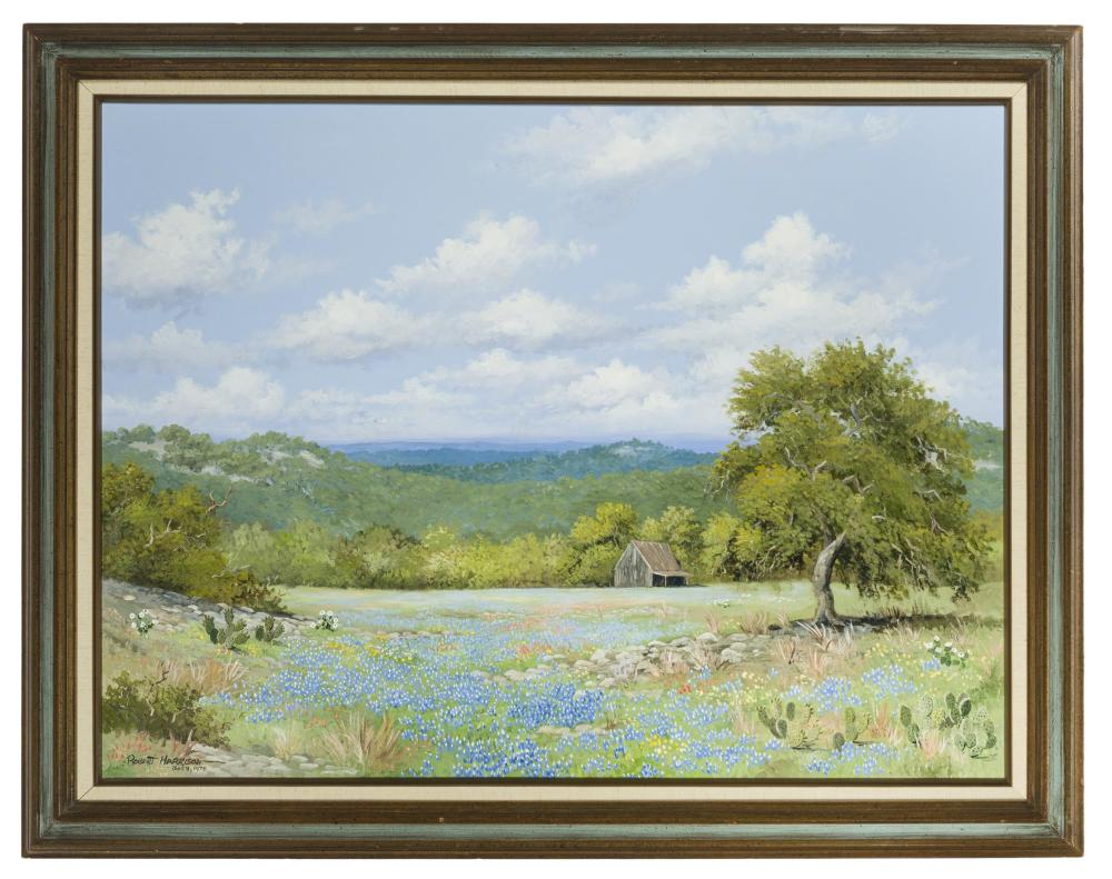 Robert Harrison, (b. 1948 San Antonio, TX), Texas hill country landscape with bluebonnets and cactus, 1976, Oil on canvas, 30