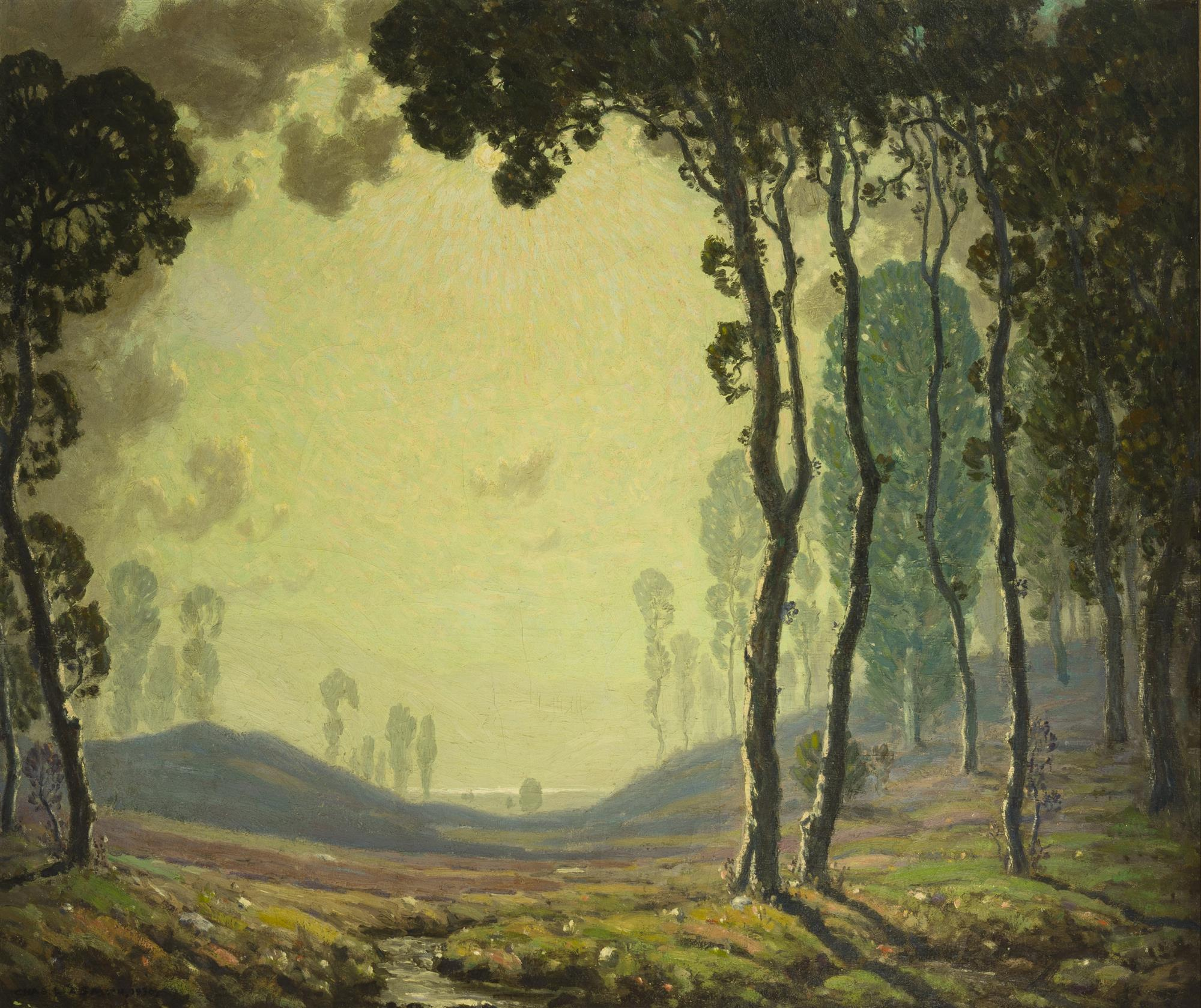"Charles L.A. Smith, (1871-1937 Los Angeles, CA), ""California Sunset,"" 1930, Oil on canvas, 39"" H x 46"" W"