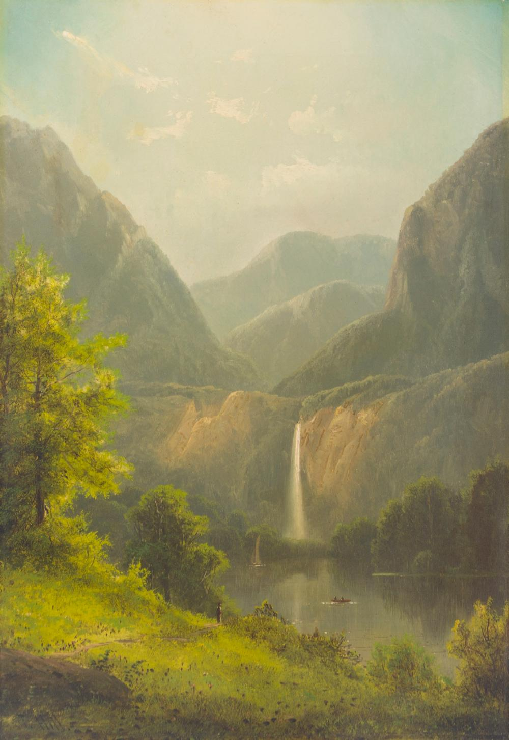 """Thomas Hill, (1829-1908 Raymond, CA), Mountain landscape with waterfall, lake and figures, Oil on canvas, 20"""" H x 14"""" W"""