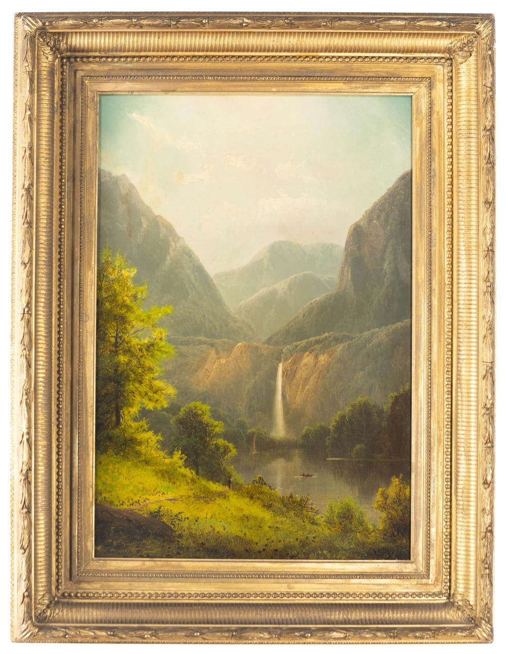 Thomas Hill, (1829-1908 Raymond, CA), Mountain landscape with waterfall, lake and figures, Oil on canvas, 20