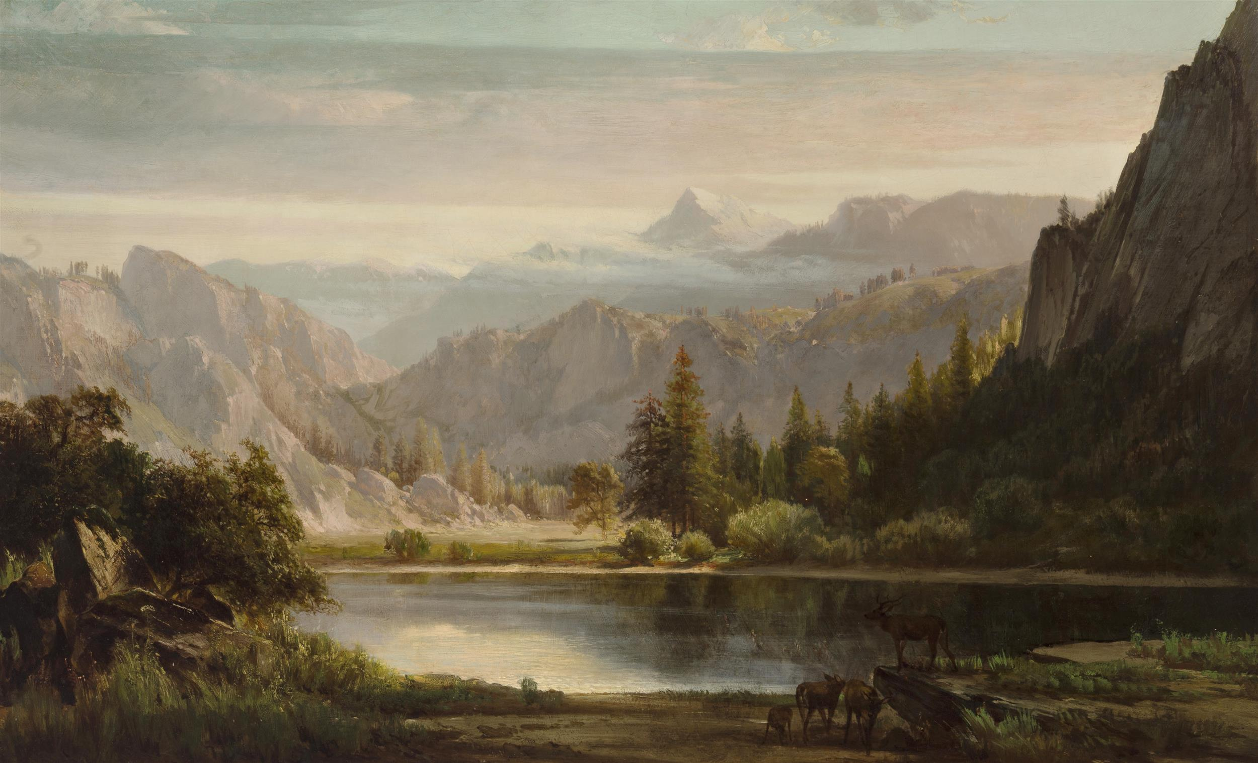 "Thomas Hill, (1829-1908 San Francisco, CA), ""Half Dome Mountain, Mirror Lake, Yosemite, Calif.,"" 1867, Oil on canvas laid to canvas, 26"