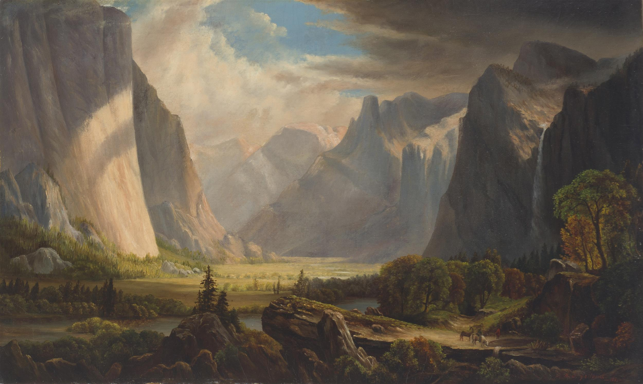 """Raymond Dabb Yelland, (1848-1900 Oakland, CA), Yosemite Valley with figures and horses, 1881, Oil on canvas, 16.25"""" H x 26.75"""" W"""