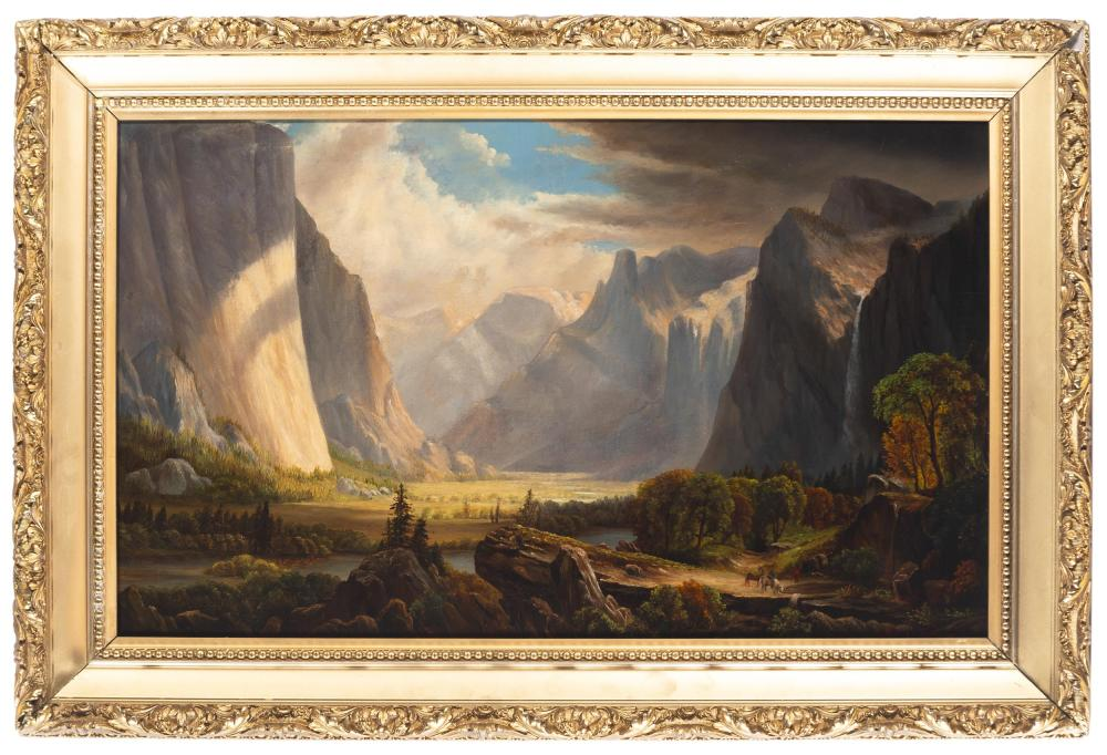 Raymond Dabb Yelland, (1848-1900 Oakland, CA), Yosemite Valley with figures and horses, 1881, Oil on canvas, 16.25