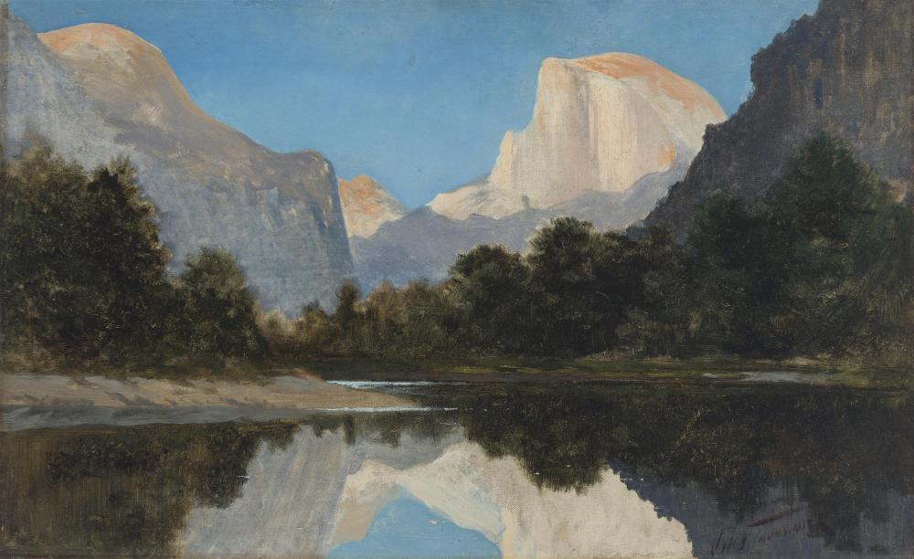 "Jules Tavernier, (1844-1889 San Francisco, CA), ""Yosemite Valley - El Capitan and Half Dome"", Oil on canvas, 12"" H x 19.5"" W"