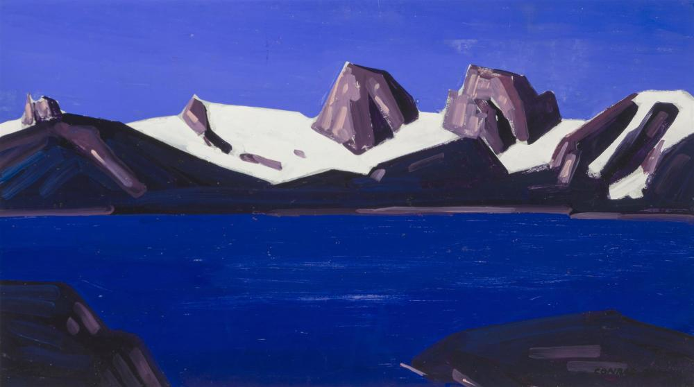 "Conrad Buff, (1886-1975 Laguna Hills, CA), Sierra Nevada range with snow, Oil on canvas, 18.5"" H x 32"" W"