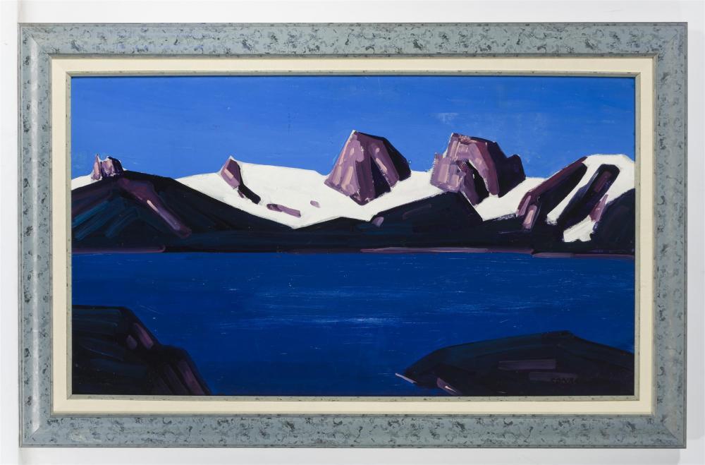 Conrad Buff, (1886-1975 Laguna Hills, CA), Sierra Nevada range with snow, Oil on canvas, 18.5