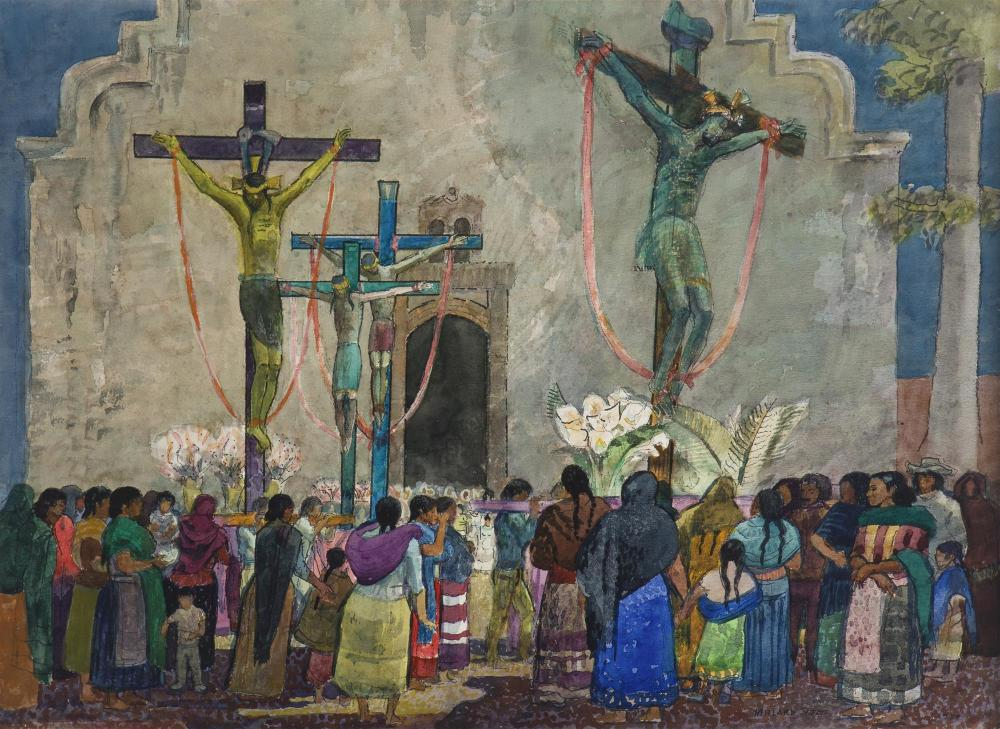 "Millard Owen Sheets NA, (1907-1989 Gualala, CA), ""Christos - Good Friday,"" 1983, Watercolor on Arches paper under glass, Sight: 21.25"""