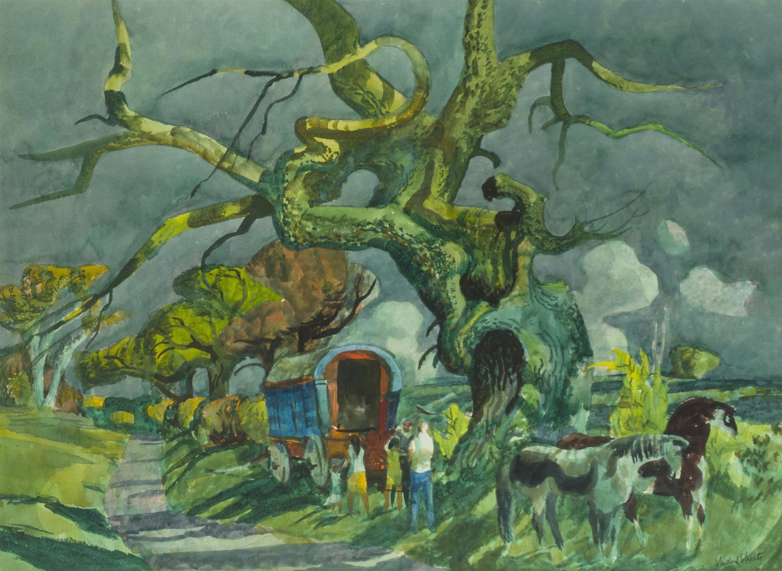 Millard Owen Sheets NA, (1907-1989 Gualala, CA), Gypsy camp with figures and horses, Watercolor on board under Plexiglas, Sight: 21.5""