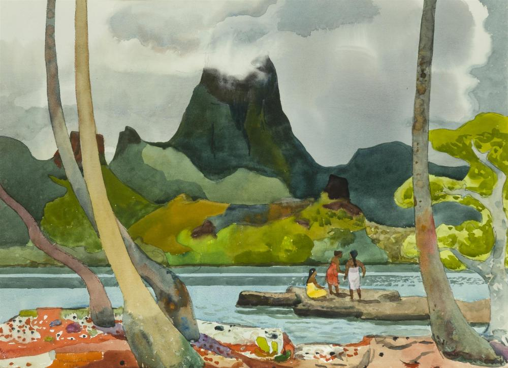 "Millard Owen Sheets NA, (1907-1989 Gualala, CA), ""Moua Puta Across Drake Bay,"" 1979, Watercolor on Arches paper under glass, Sight: 21."