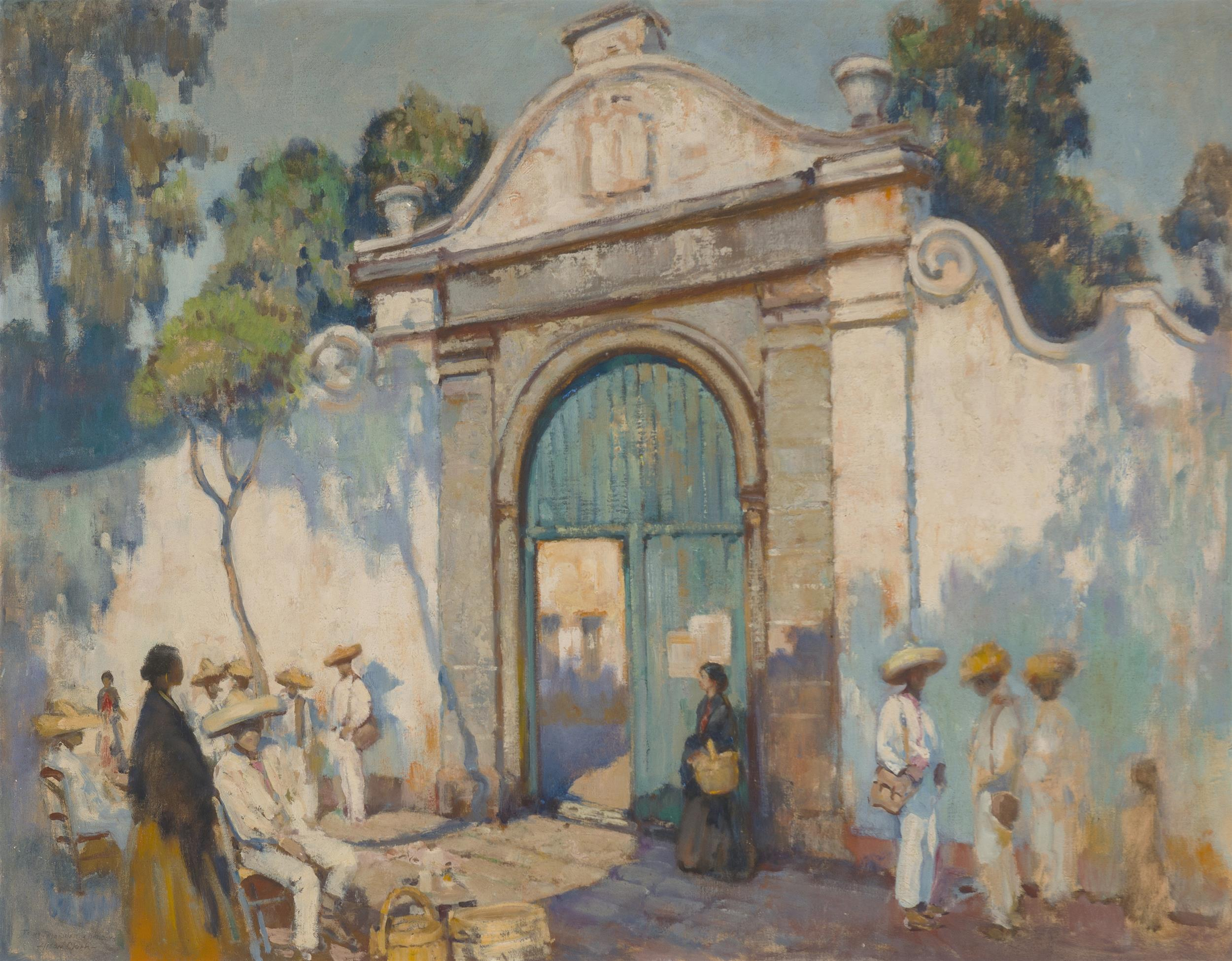 "Alson Skinner Clark, (1876-1949 Pasadena, CA), Figures in front of a mission wall, 1920, Oil on canvas laid to masonite, 36"" H x 46"" W"