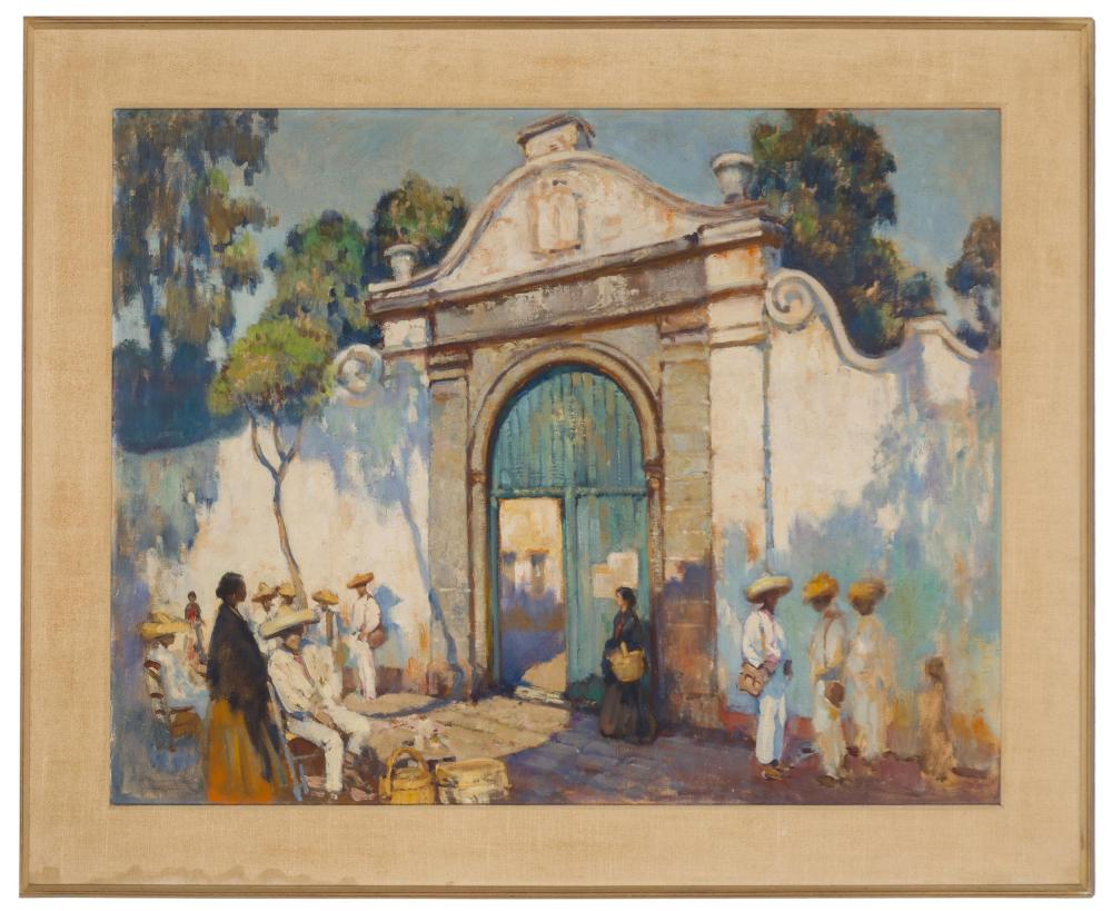 Alson Skinner Clark, (1876-1949 Pasadena, CA), Figures in front of a mission wall, 1920, Oil on canvas laid to masonite, 36