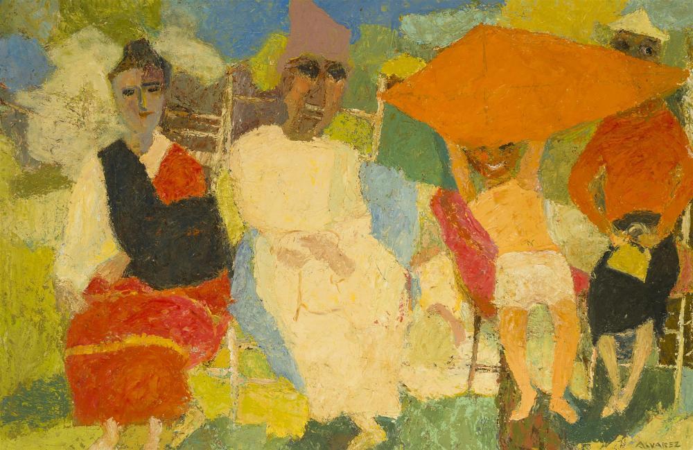 "Mabel Alvarez, (1891-1985 Los Angeles, CA), ""Taking the Air"", Oil on masonite, 24"" H x 36"" W"