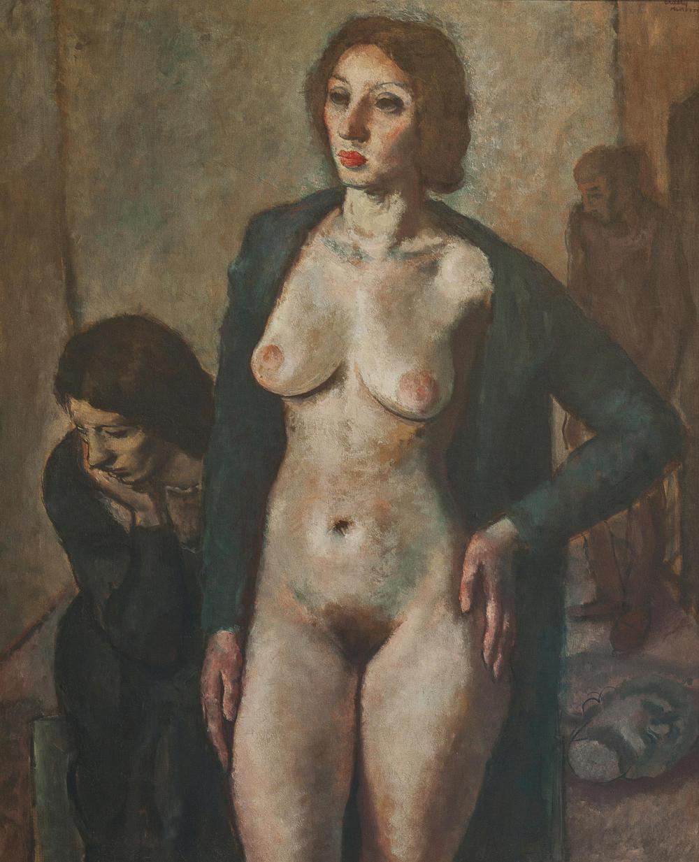 """Francis De Erdely, (1904-1959 Los Angeles, CA), Figural of standing nude, 1934, Oil on canvas laid to canvas, 54.25"""" H x 42.5"""" W"""