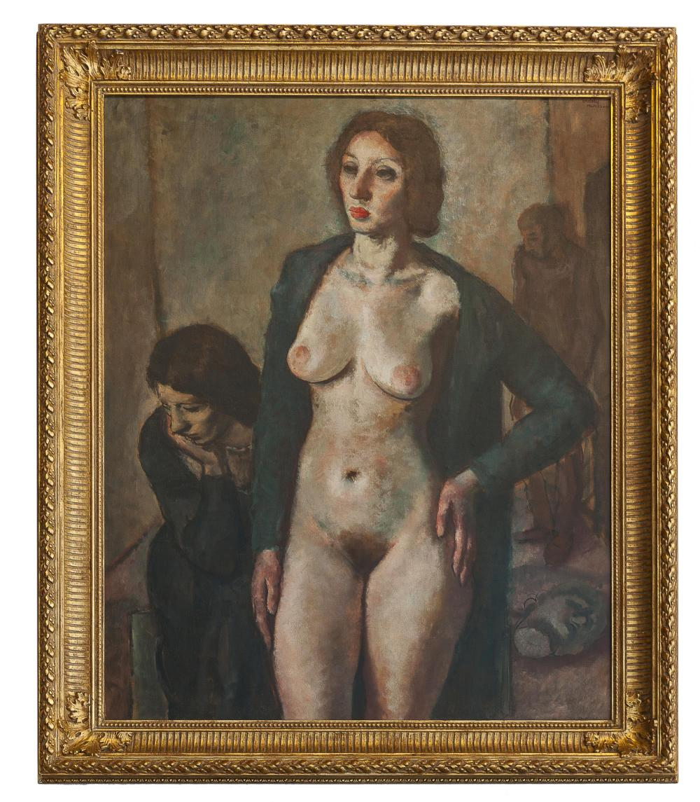 Francis De Erdely, (1904-1959 Los Angeles, CA), Figural of standing nude, 1934, Oil on canvas laid to canvas, 54.25