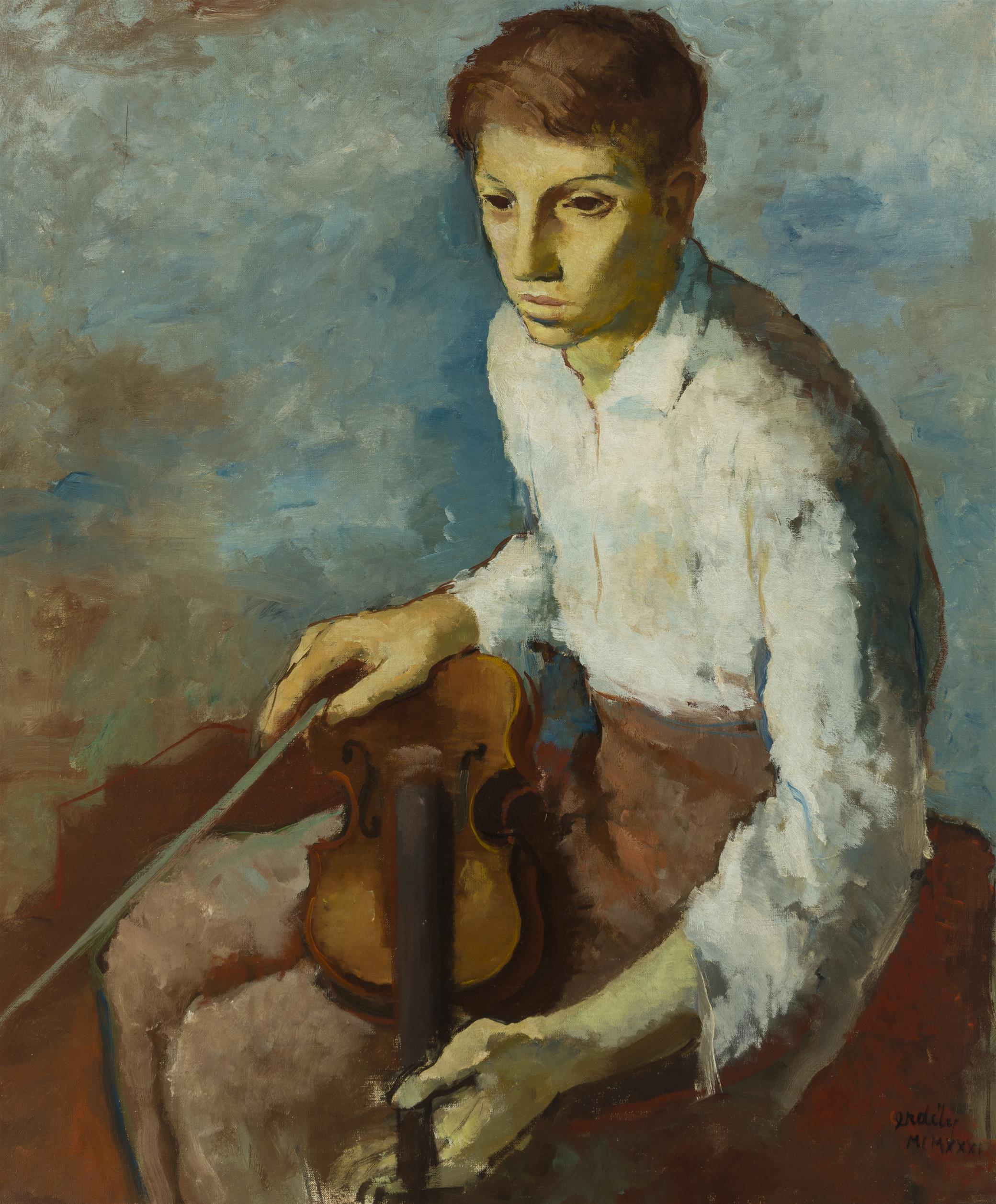 "Francis De Erdely, (1904-1959 Los Angeles, CA), Violin player, 1931, Oil on canvas, 35.5"" H x 29.5"" W"