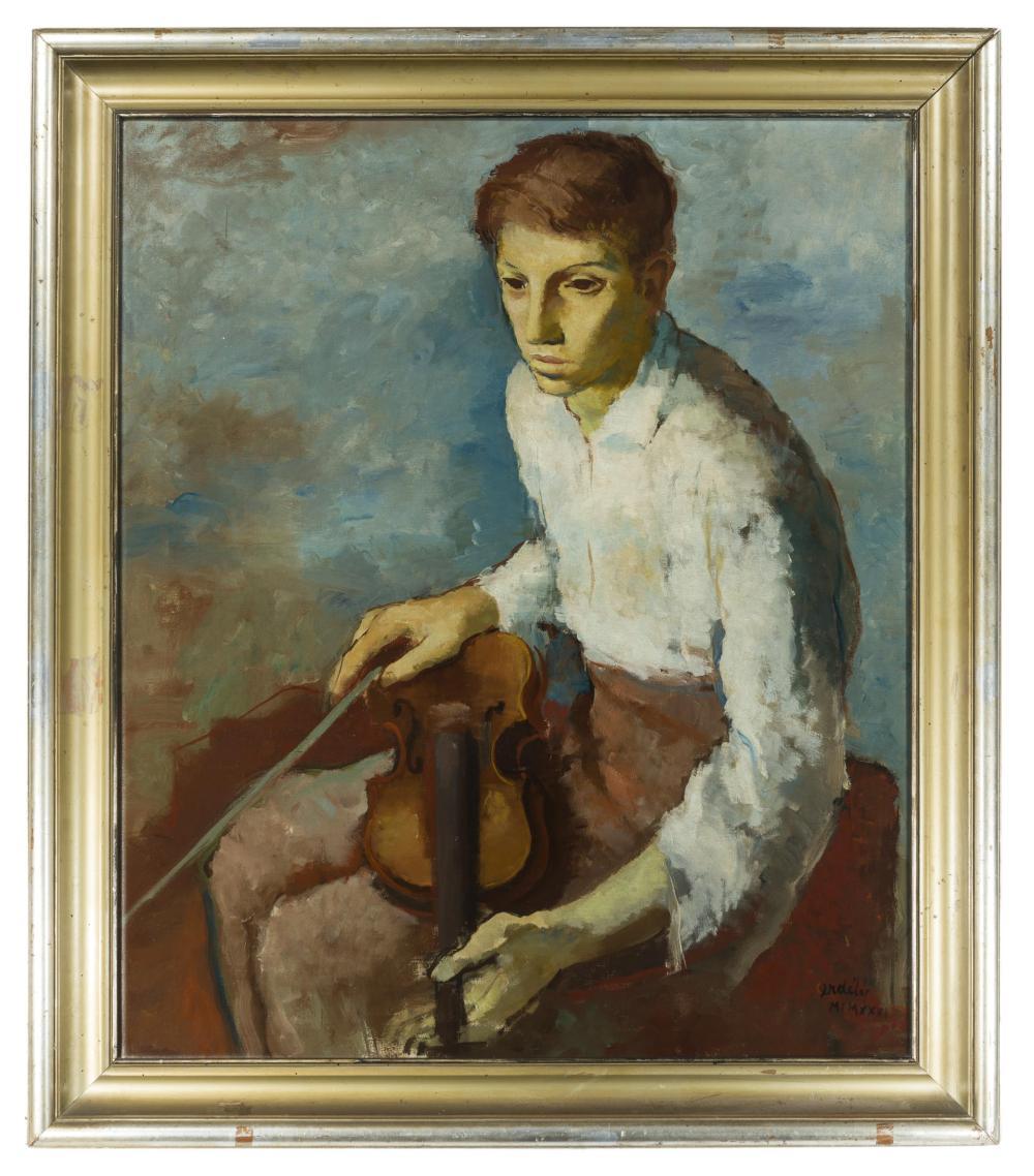 Francis De Erdely, (1904-1959 Los Angeles, CA), Violin player, 1931, Oil on canvas, 35.5