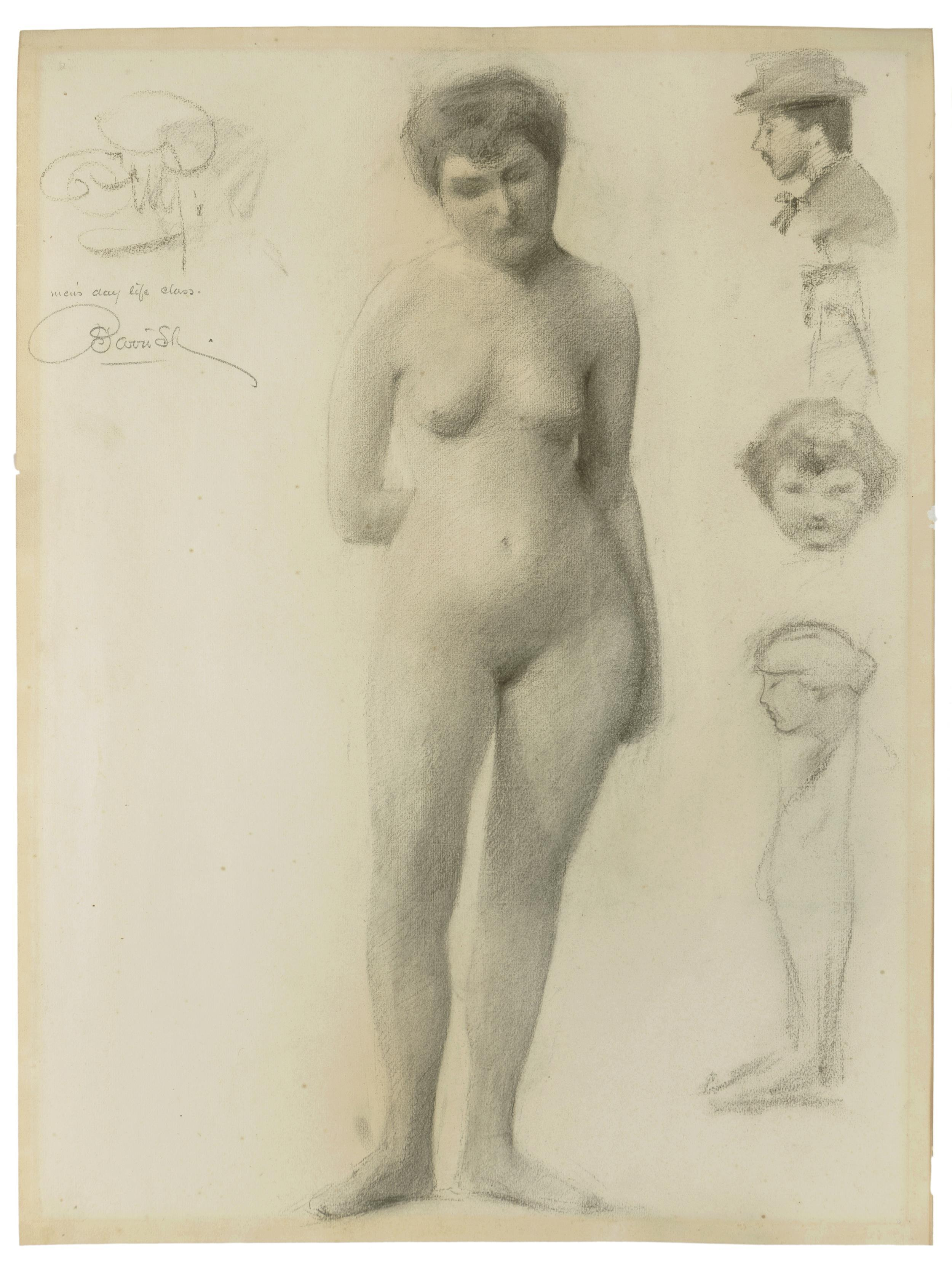 "Maxfield Parrish, (1870-1966 Plainfield, NH), ""Female Nude,"" 1892, Pencil on paper under glass, Sight: 23"" H x 17"" W"