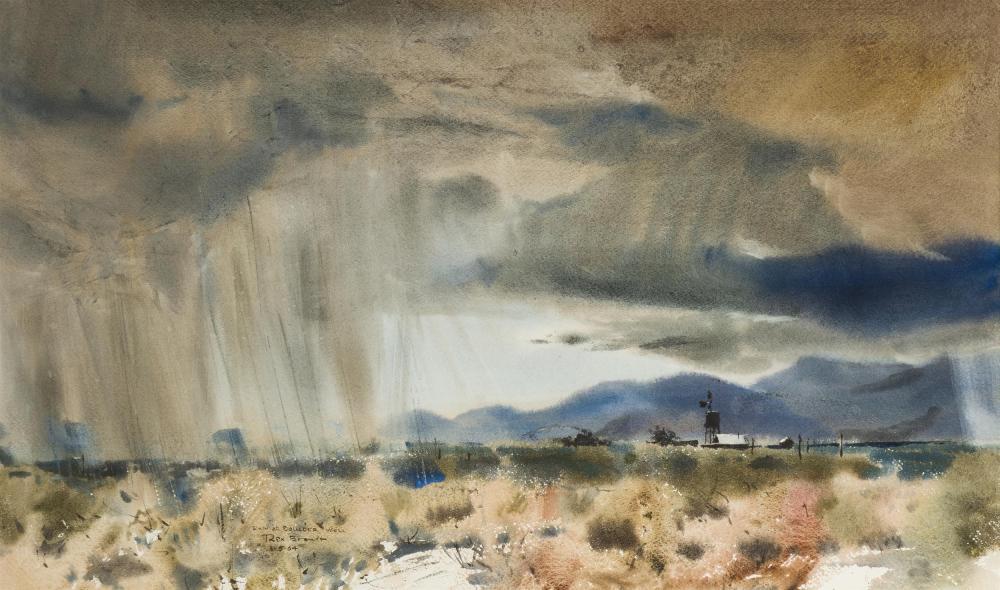 """Rex Brandt, (1914-2000 Corona Del Mar, CA), """"Rain at Boulder Well,"""" 1964, Watercolor on paper under Plexiglas, Sight: 17.5"""" H x 29.25"""""""