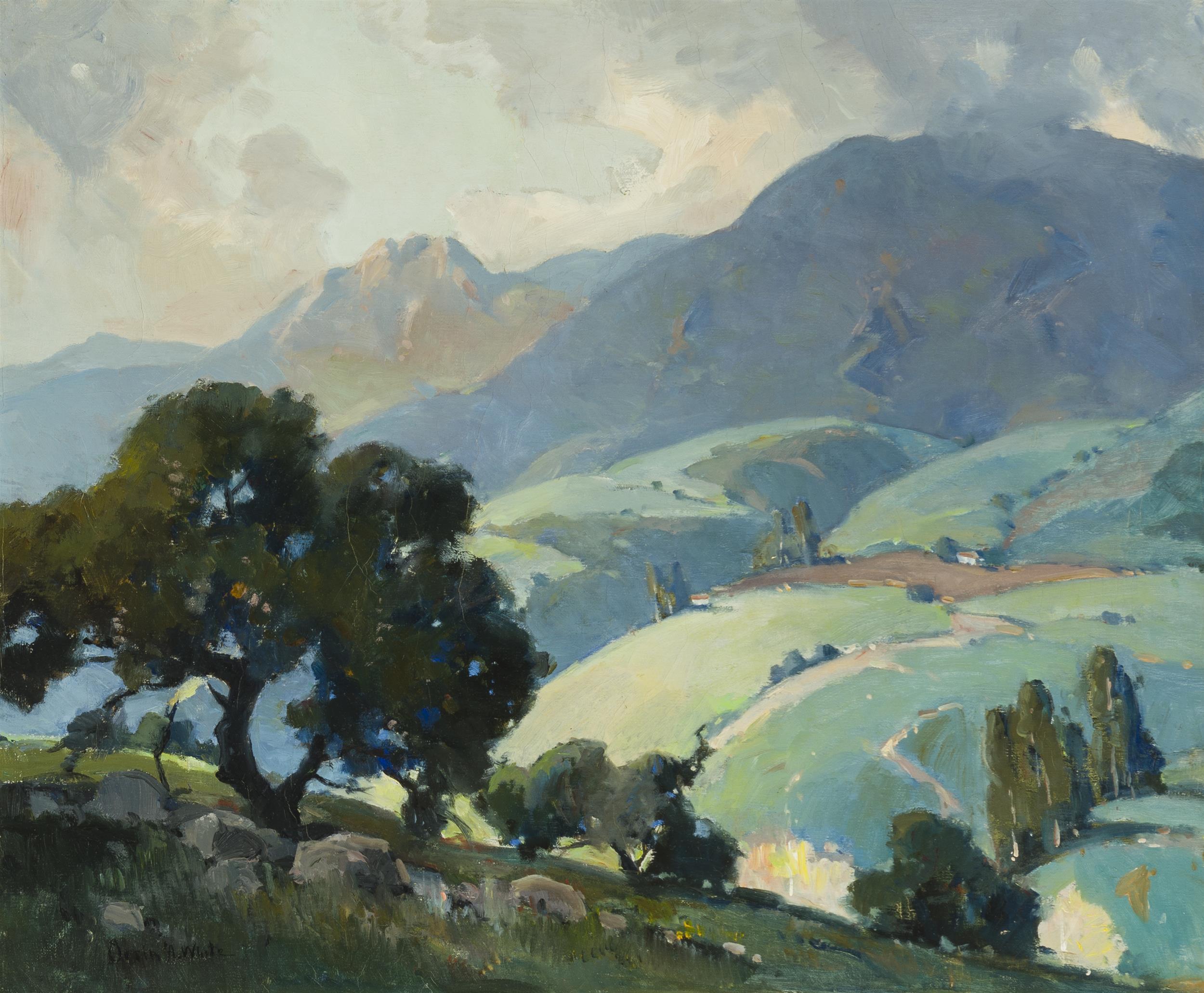 "Orrin A. White, (1883-1969 Pasadena, CA), Santa Barbara mountains landscape, Oil on canvas, 20"" H x 24"" W"