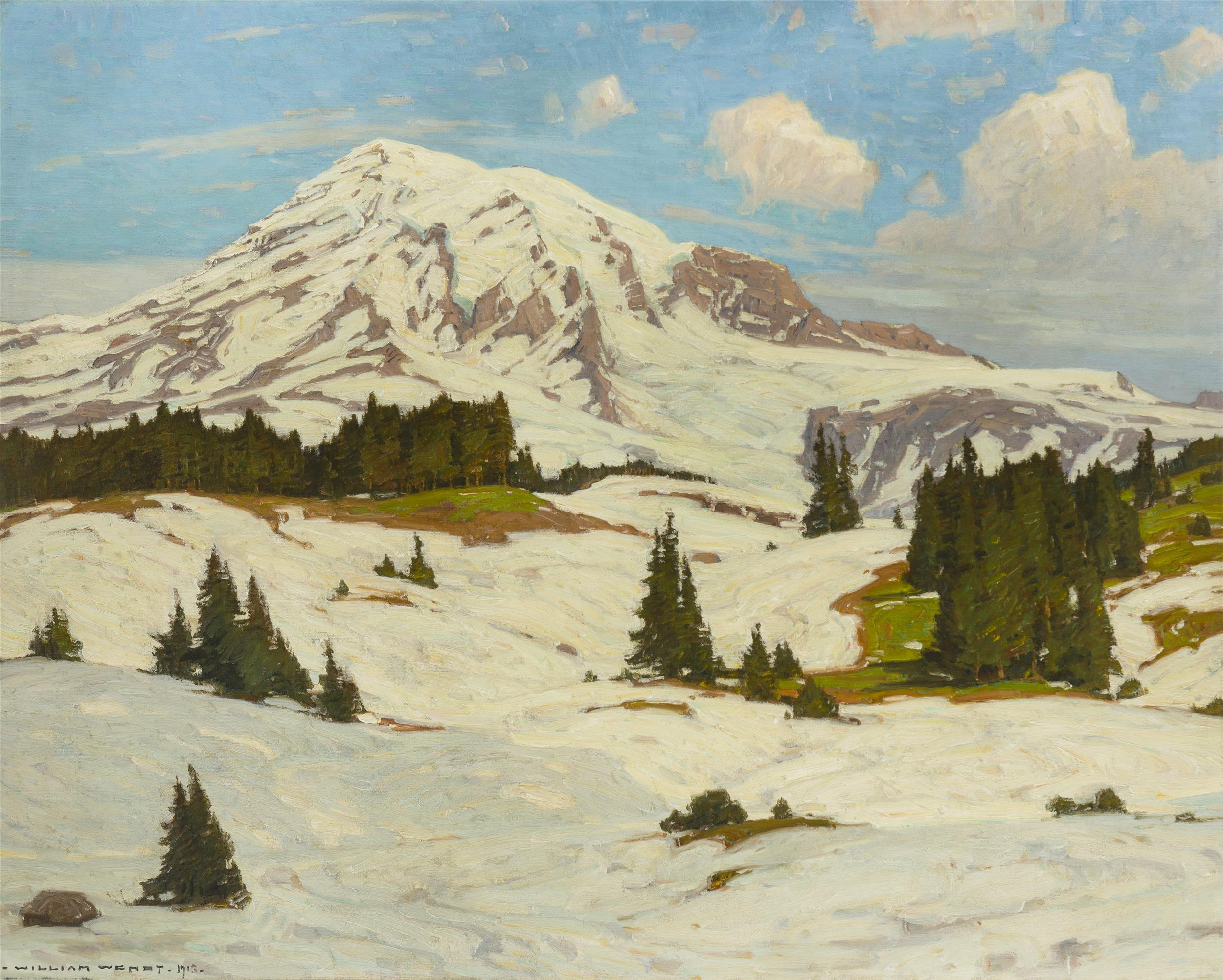 "William Wendt ANA, (1865-1946 Laguna Beach, CA), ""Tahoma, The Eternal,"" 1913, Oil on canvas laid to canvas, 39.75"" H x 49.75"" W"