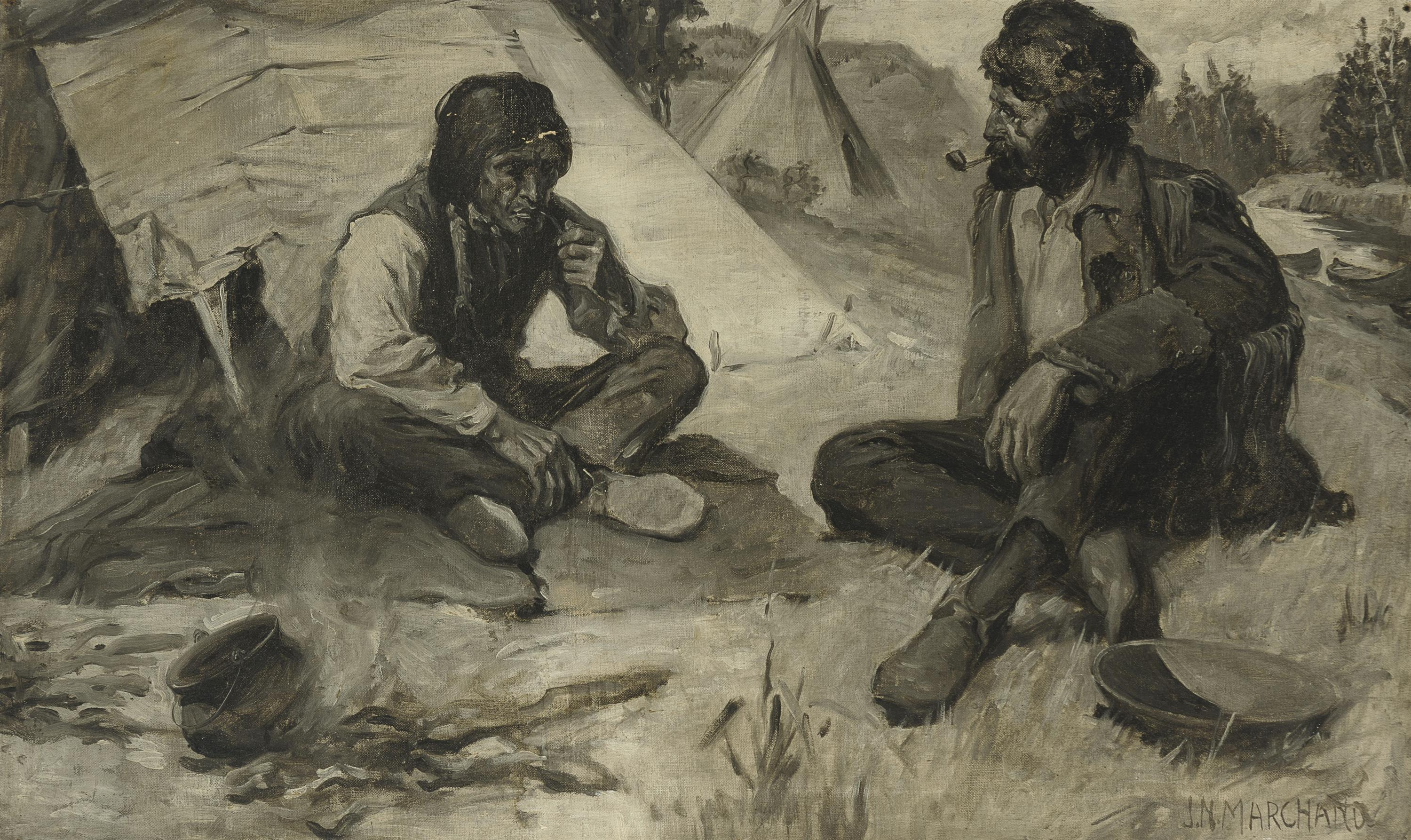 """John N. Marchand, (1875-1921 Westport, CT), American Indian and frontiersman seated by a fire, Oil en griselle on canvas, 19"""" H x 31"""" W"""