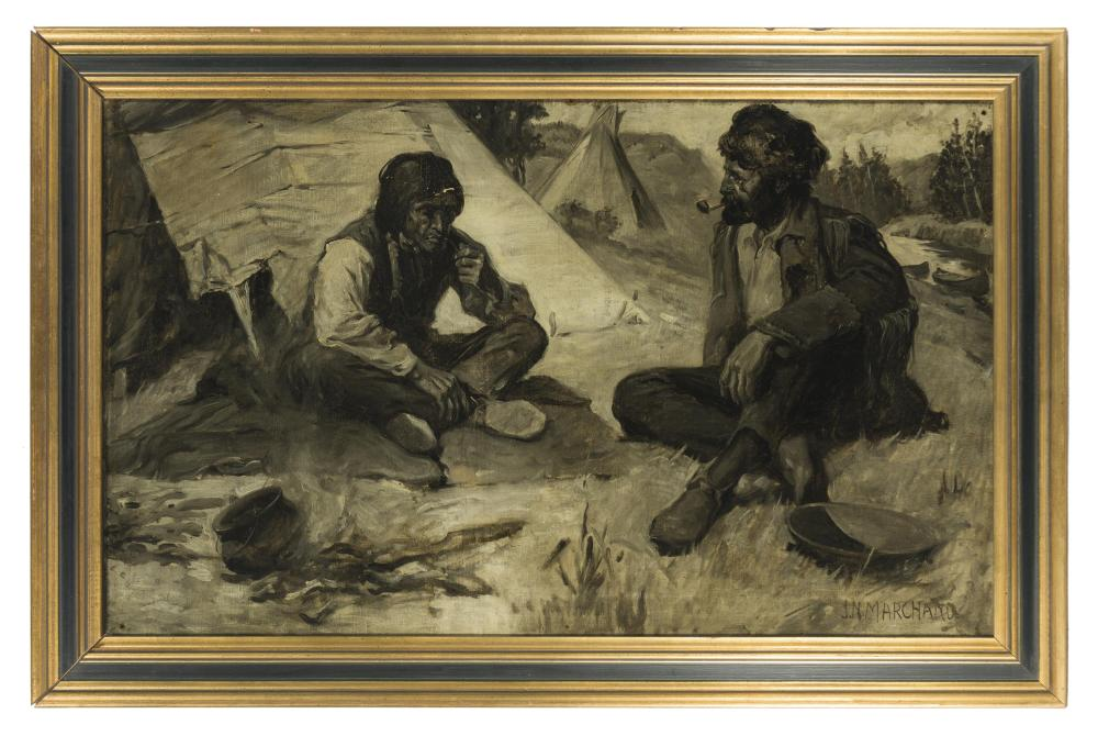 John N. Marchand, (1875-1921 Westport, CT), American Indian and frontiersman seated by a fire, Oil en griselle on canvas, 19