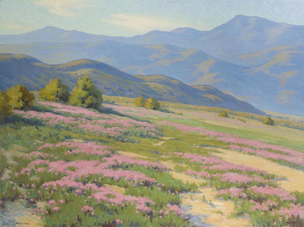 "John Marshall Gamble, (1863-1957 Santa Barbara, CA), ""Wild Verbena, Near Palm Springs"", Oil on canvas, 30"" H x 40"" W"