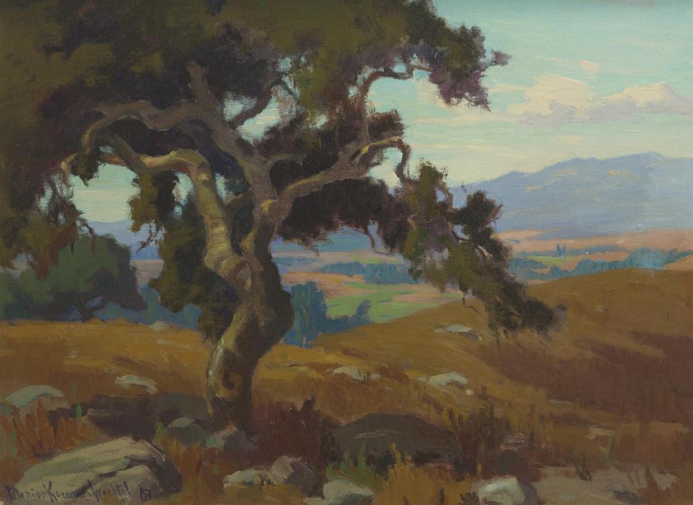 """Marion Kavanagh Wachtel, (1870-1954 Pasadena, CA), Southern California landscape, Oil on canvas laid to board, 13.5"""" H x 18"""" W"""