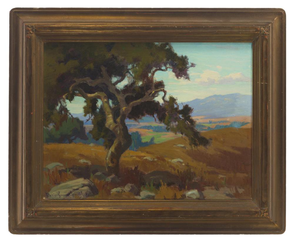 Marion Kavanagh Wachtel, (1870-1954 Pasadena, CA), Southern California landscape, Oil on canvas laid to board, 13.5