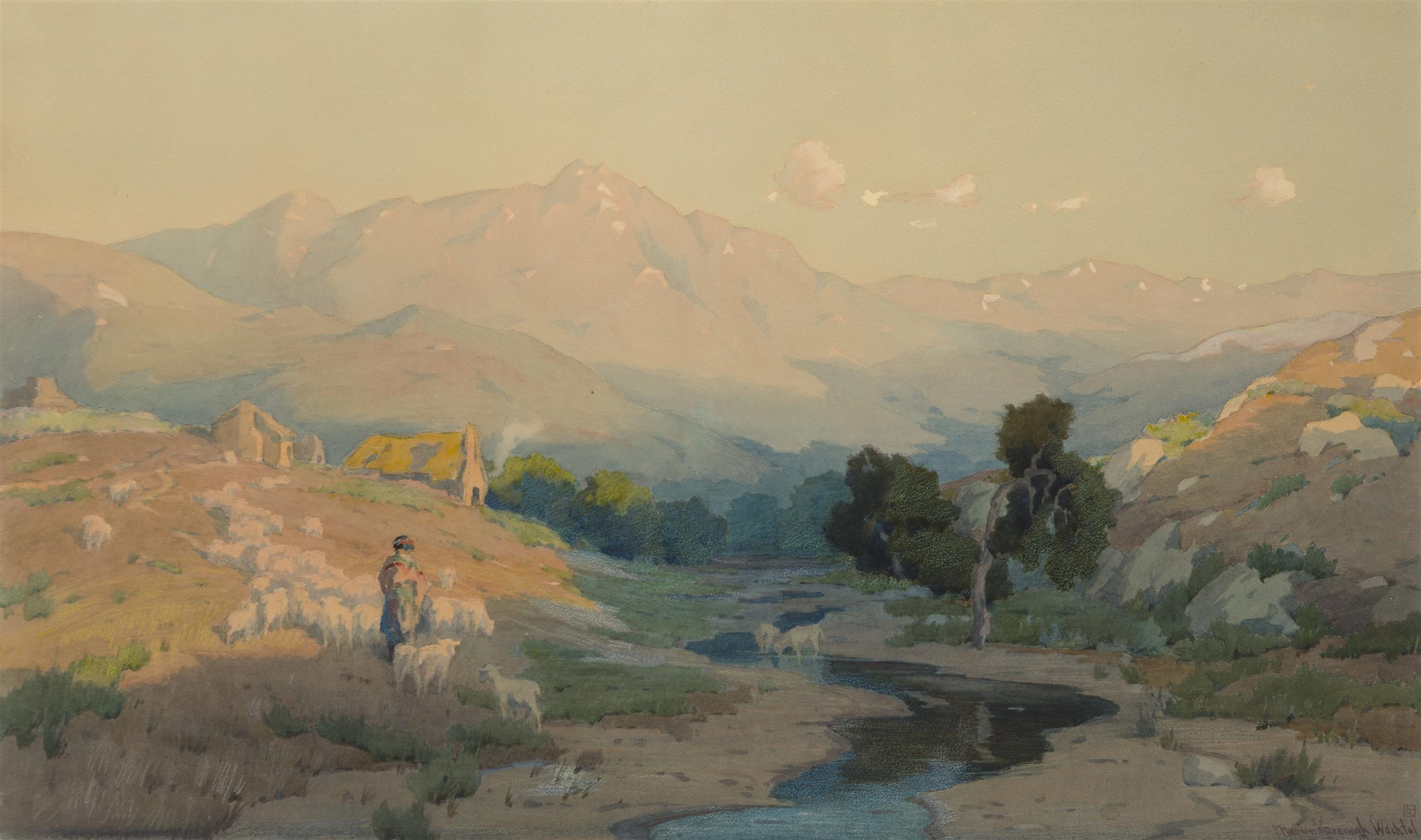 "Marion Kavanagh Wachtel, (1870-1954 Pasadena, CA), ""The Indian Shepard (Warner Ranch)"", Watercolor on paper under glass, Sight: 17.5"" H"